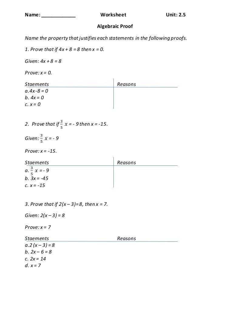 Algebraic Proofs Worksheet with Answers Algebraic Proofs
