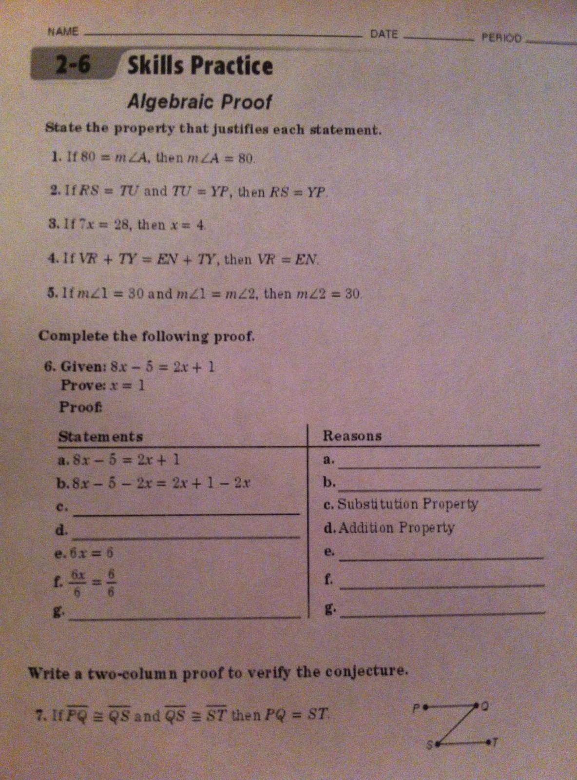 Algebraic Proofs Worksheet with Answers February 2013