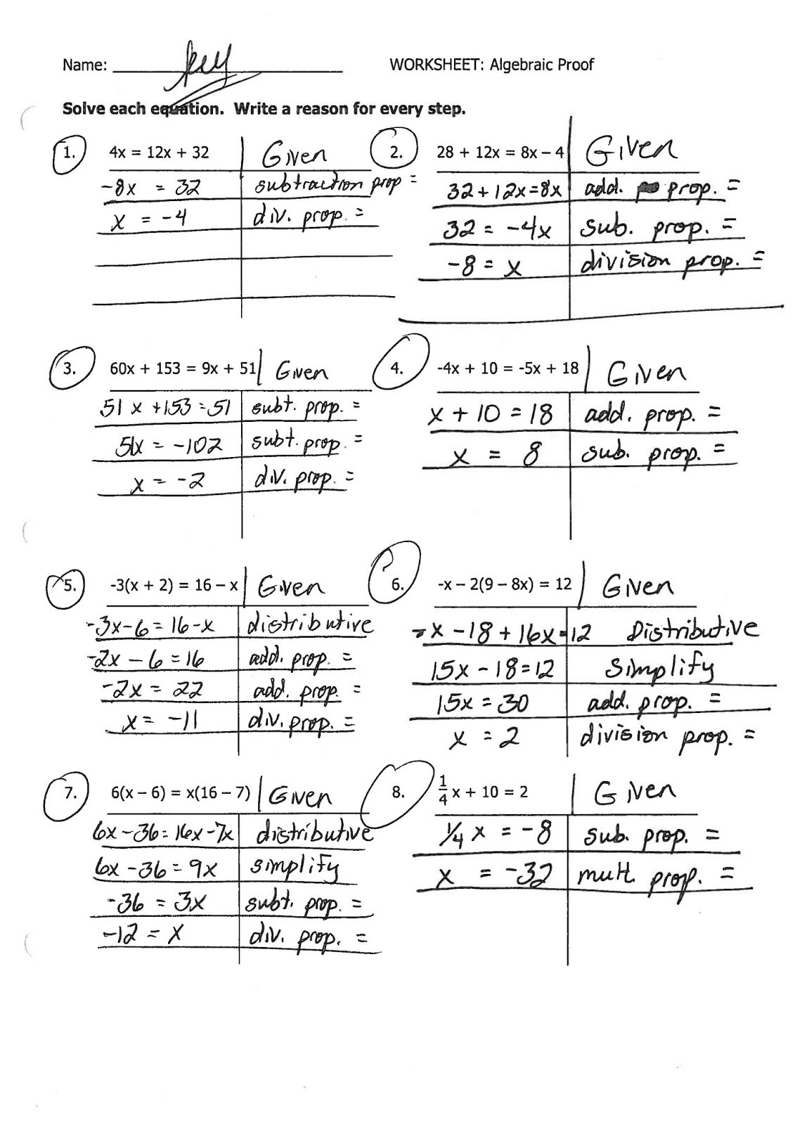 Algebraic Proofs Worksheet with Answers Geometry Proofs Worksheets with Answers