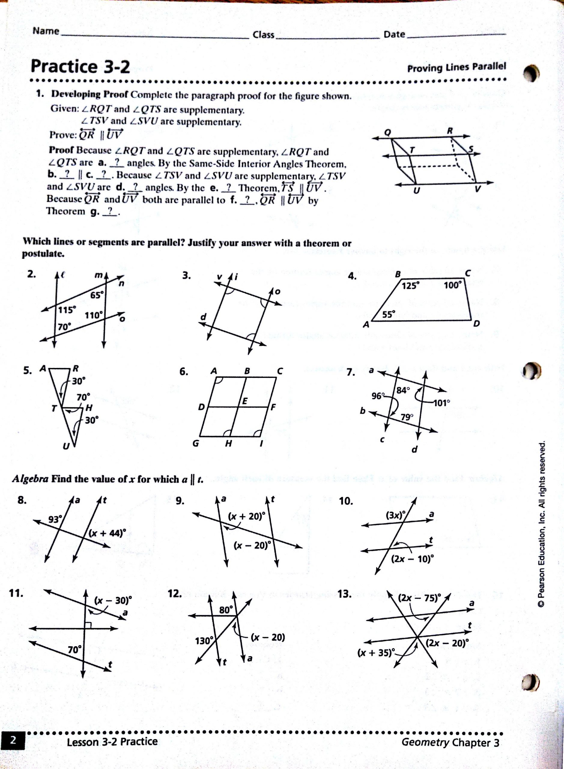 Algebraic Proofs Worksheet with Answers Introductory Geometry Proofs Worksheet