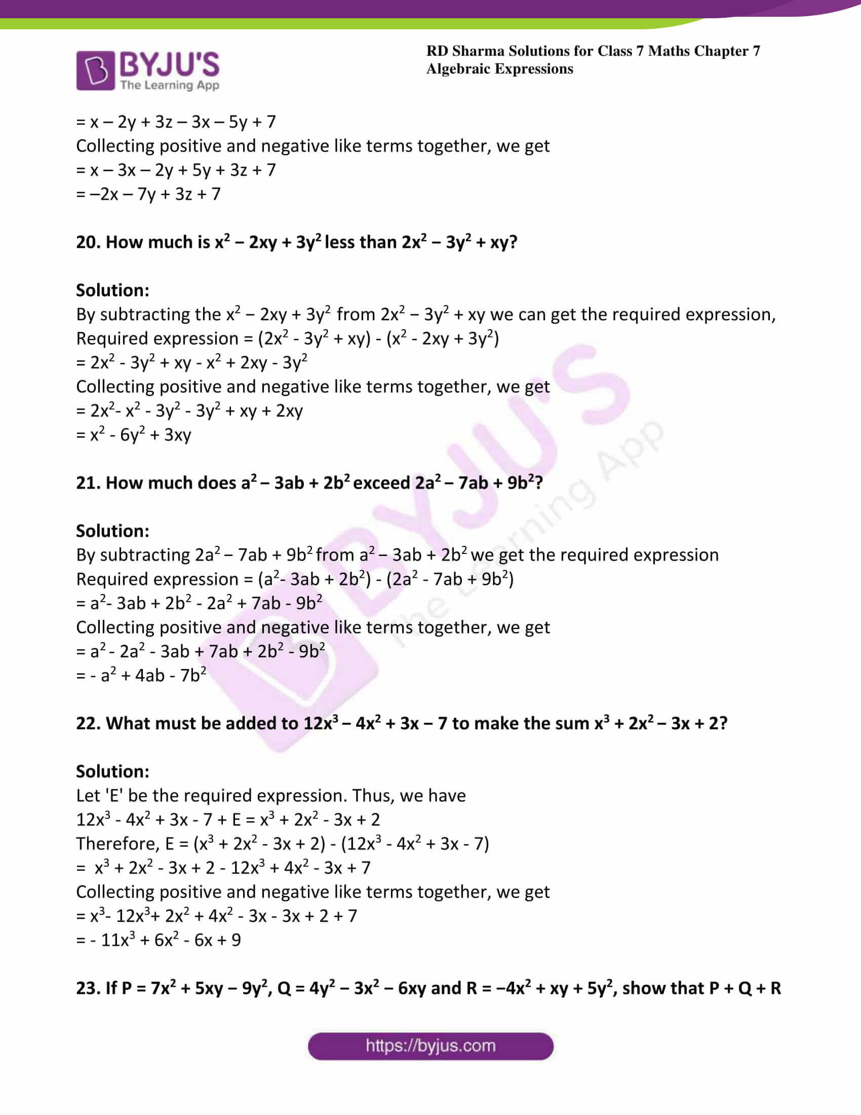 Algebraic Proofs Worksheet with Answers Rd Sharma solutions for Class 7 Maths Chapter 7 Algebraic