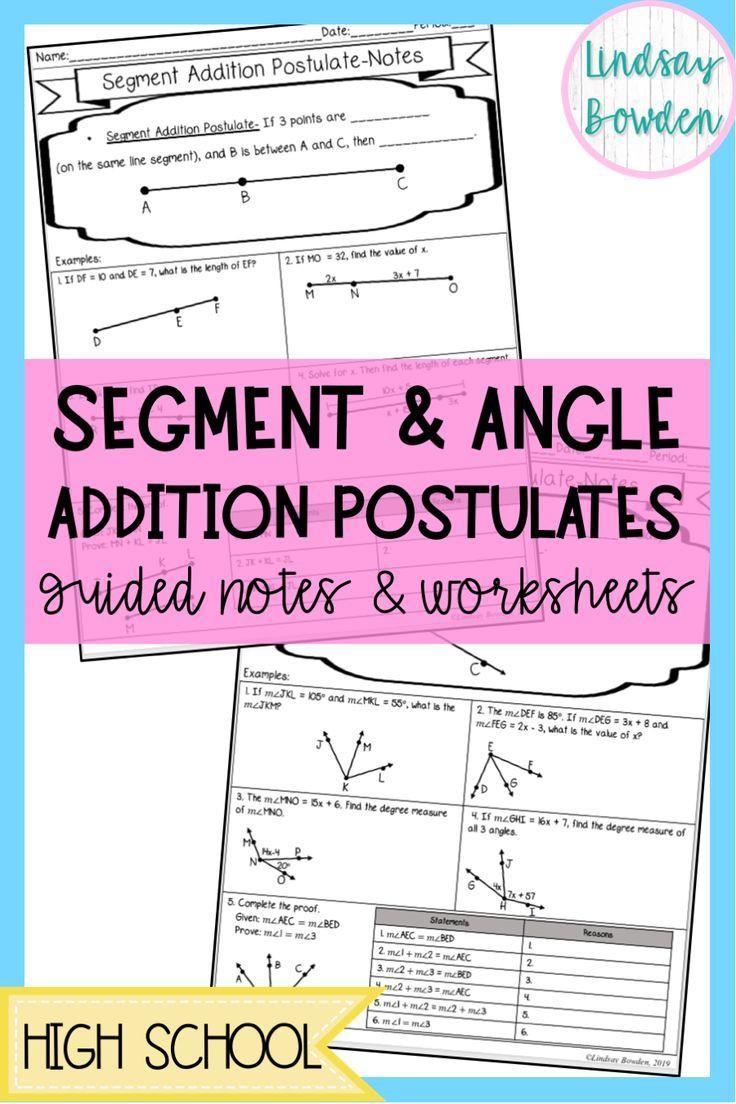 Angle Addition Postulate Worksheet Segment and Angle Addition Postulates Guided Notes and