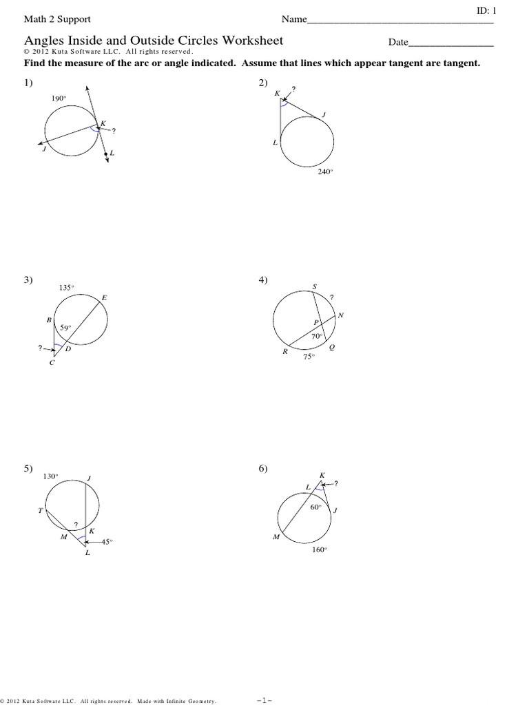 Angles In Circles Worksheet 12 5 Worksheet Practice Pdf Angle