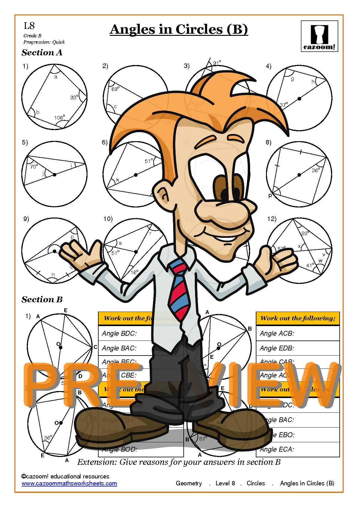 Angles In Circles Worksheet Cazoom Maths Worksheets Maths Worksheets