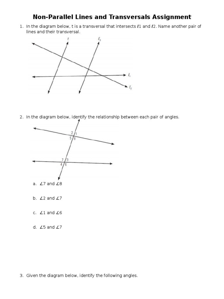 Angles In Transversal Worksheet Answers Nonparallel Lines and Transversals Worksheet Angle