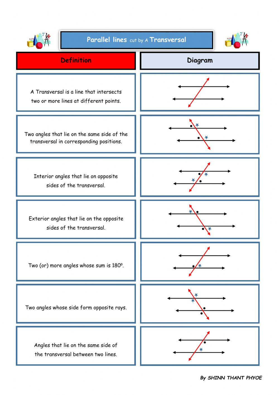 Angles In Transversal Worksheet Answers Parallel Interactive Worksheet