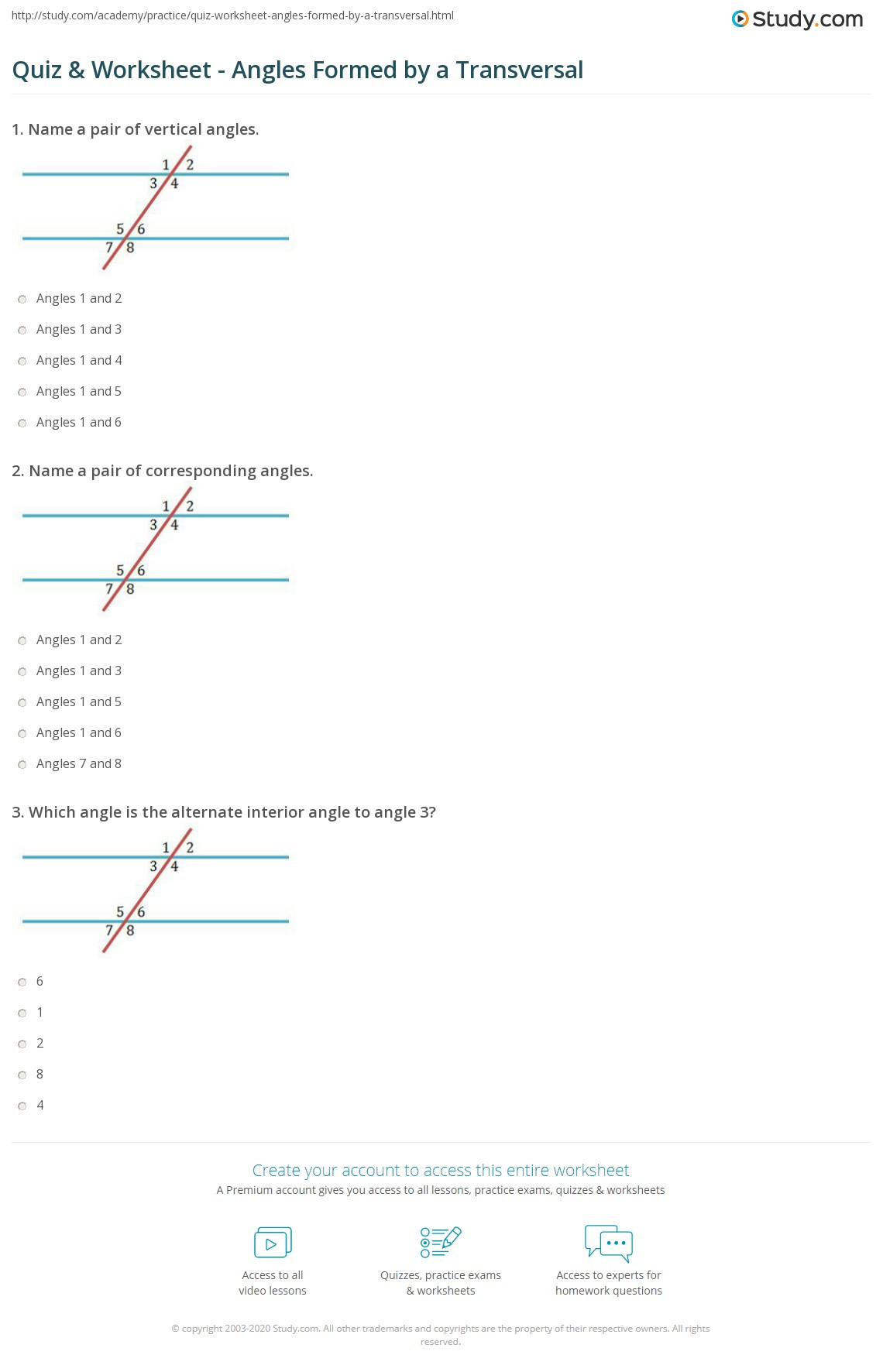 Angles In Transversal Worksheet Answers Quiz & Worksheet Angles formed by A Transversal