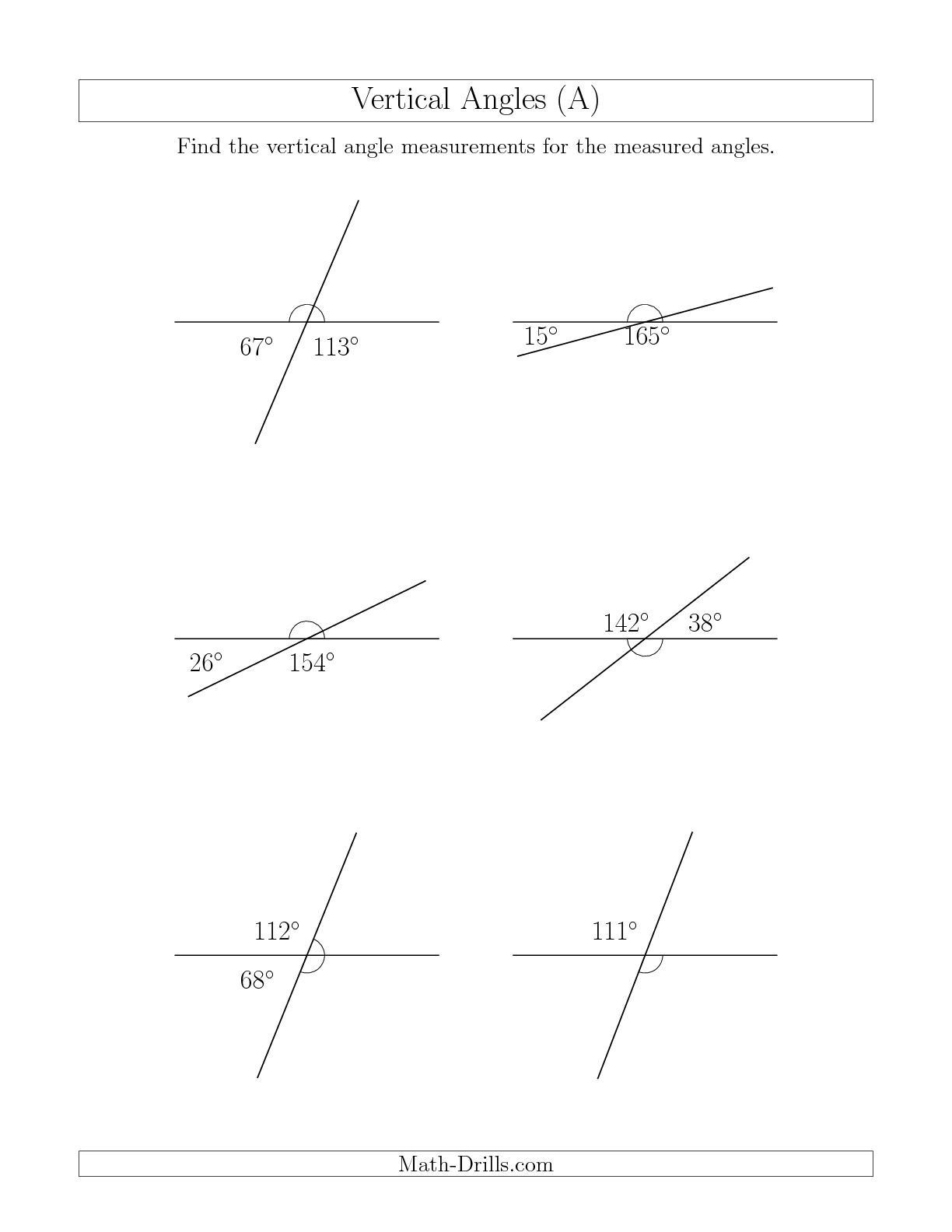 Angles In Transversal Worksheet Answers the Vertical Angle Relationships A Math Worksheet From the
