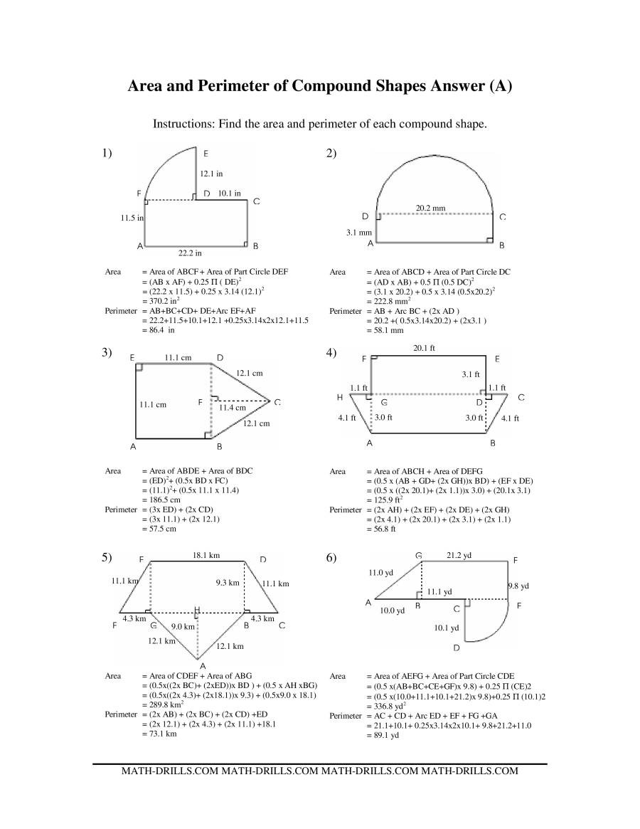 Area Of Irregular Shapes Worksheet area and Perimeter Of Pound Shapes A