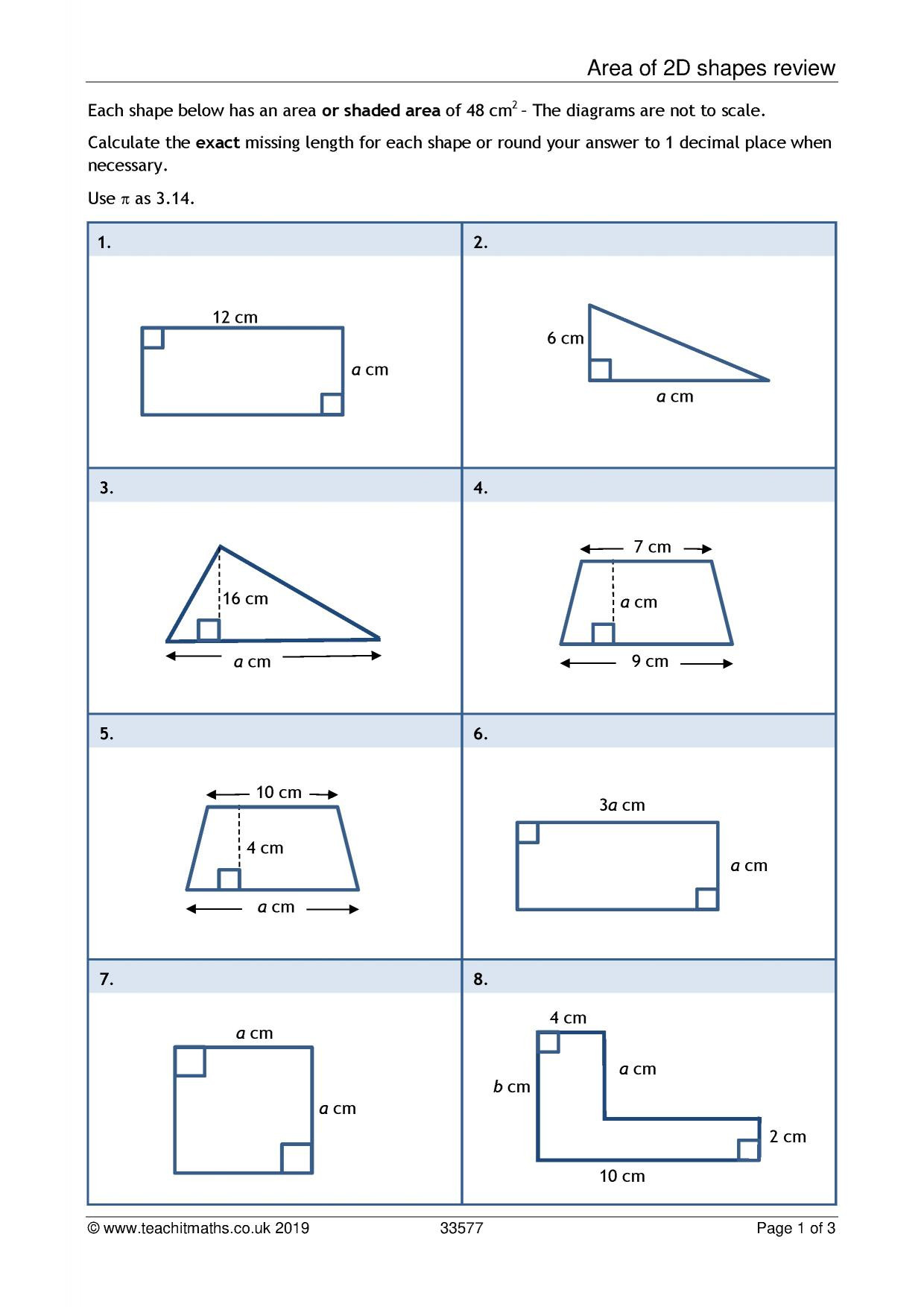 Area Of Irregular Shapes Worksheet Ks3 Geometry and Measure