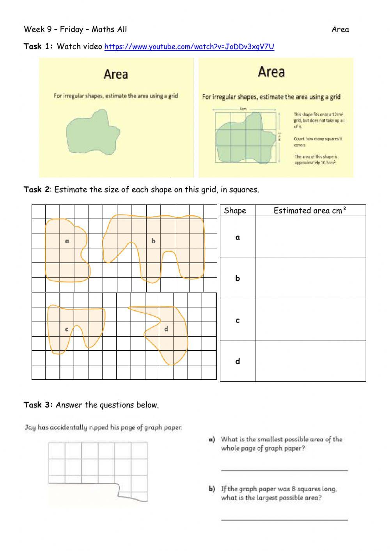 Area Of Irregular Shapes Worksheet Week 9 Friday Maths All Interactive Worksheet