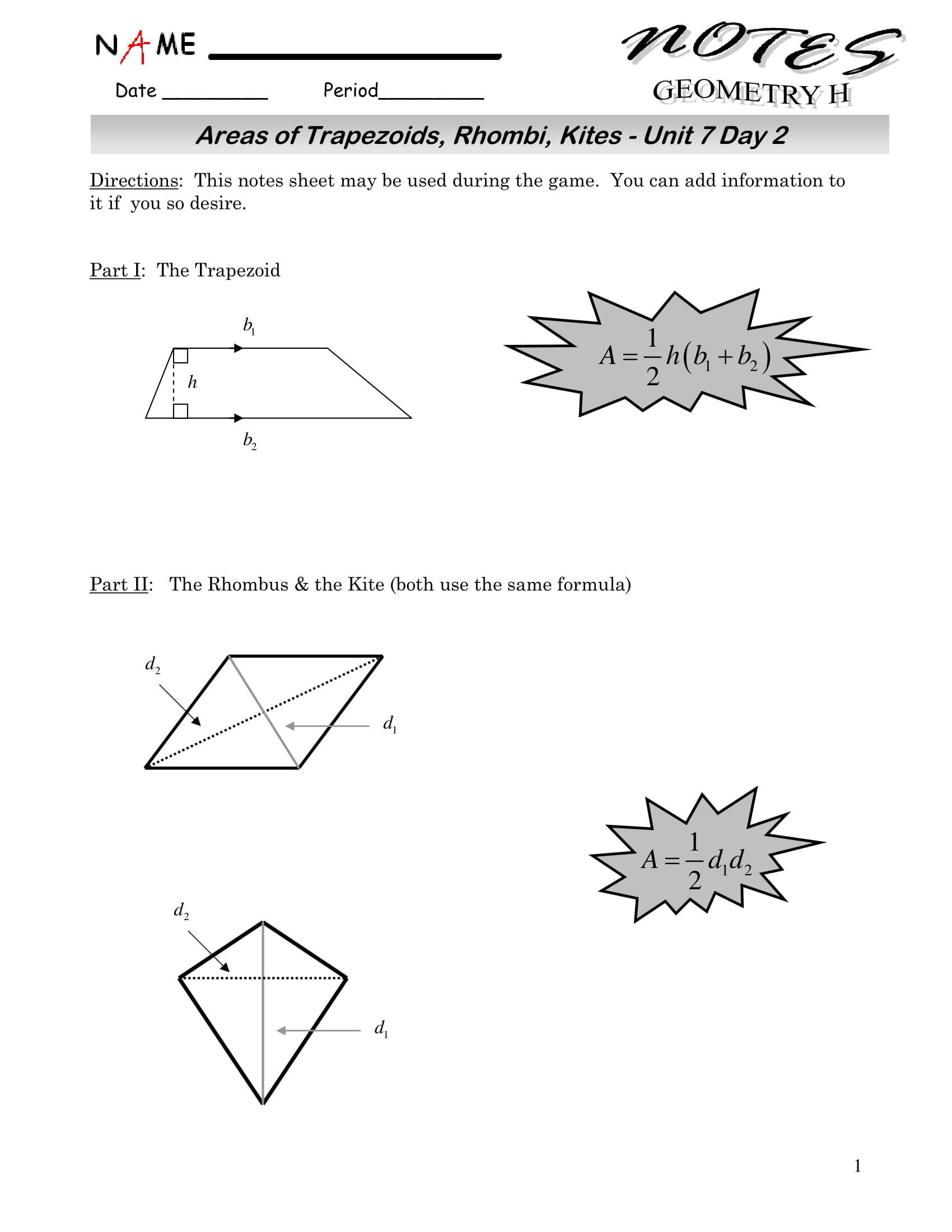 Area Of Rhombus Worksheet 9 Geometry Worksheet Examples for Students Pdf