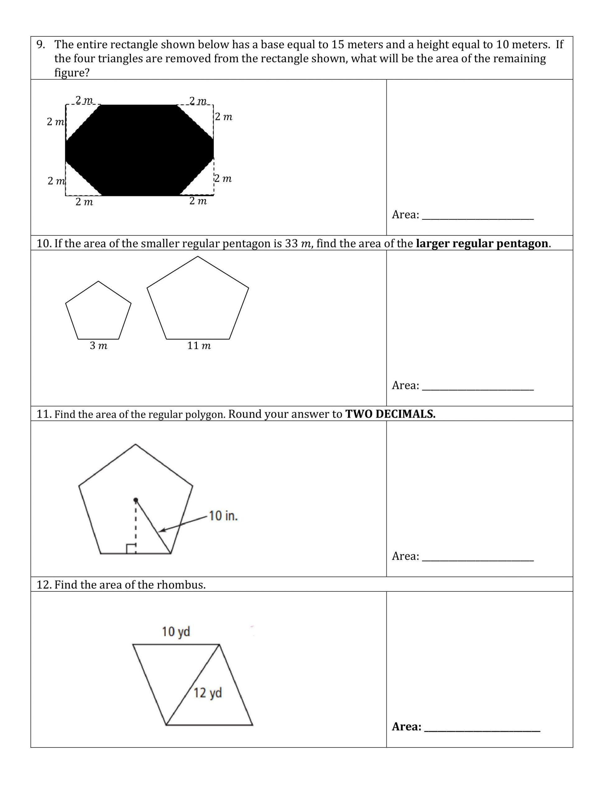 Area Of Rhombus Worksheet 9 In Worksheet 12 Find the area Of the Rhombus Brainly