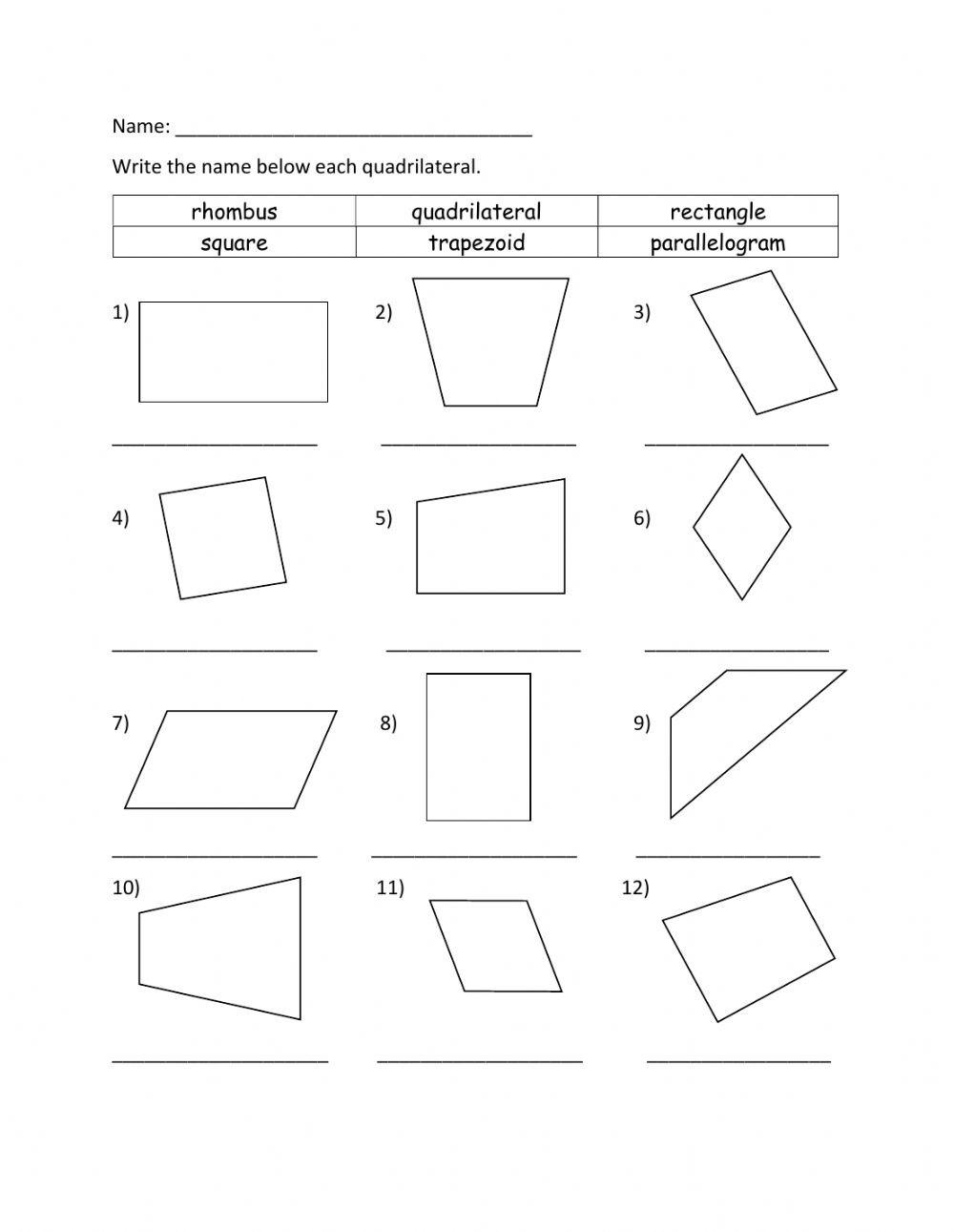 Area Of Rhombus Worksheet Identifying Quadrilateral Interactive Worksheet
