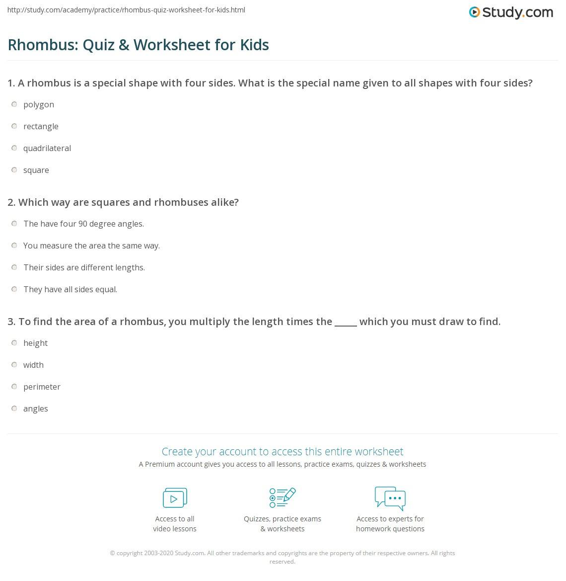 Area Of Rhombus Worksheet Rhombus Quiz & Worksheet for Kids