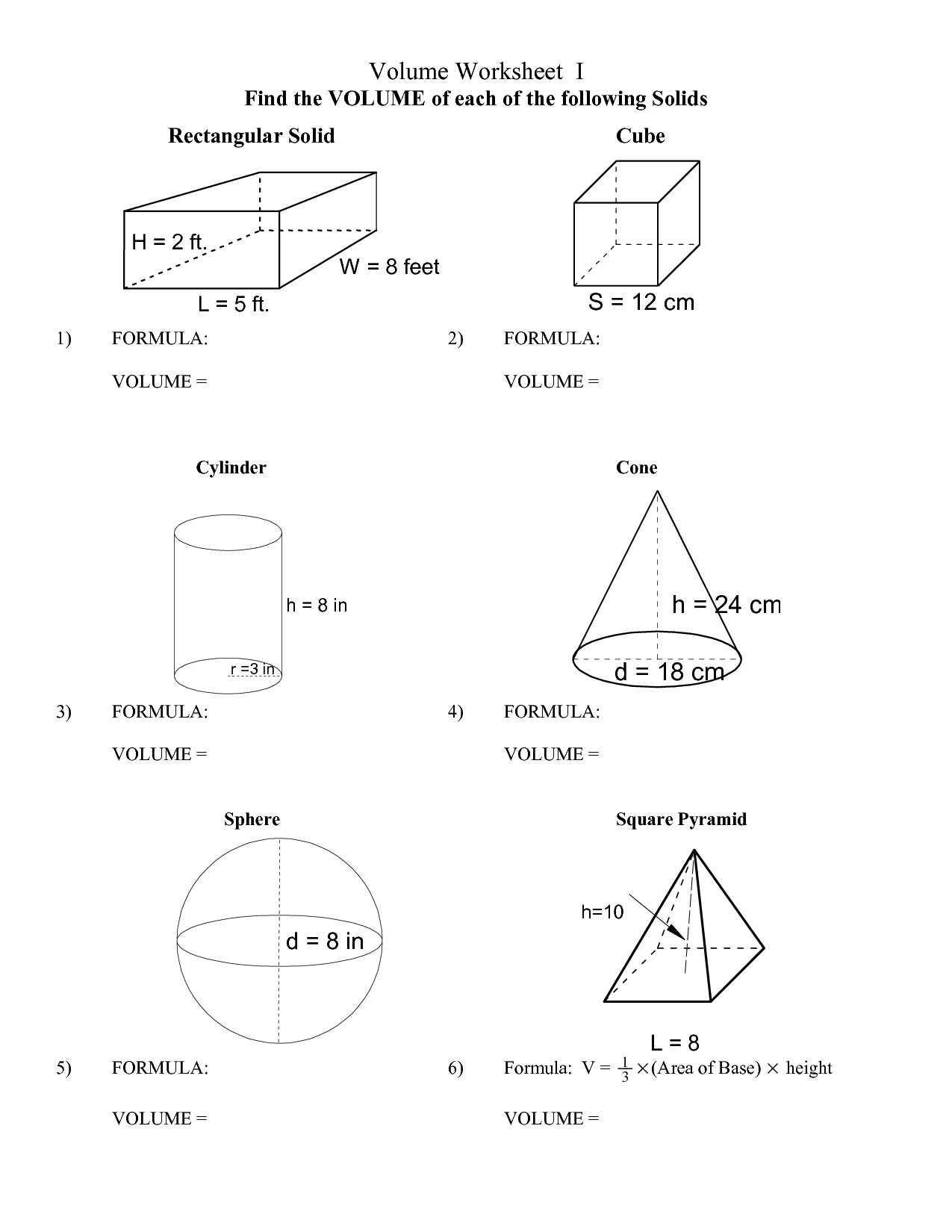 Area Of Rhombus Worksheet Surface area Math Worksheets