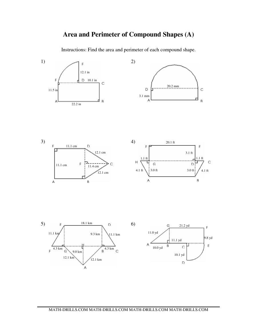 Area Of Rhombus Worksheet the area and Perimeter Of Pound Shapes A Math Worksheet