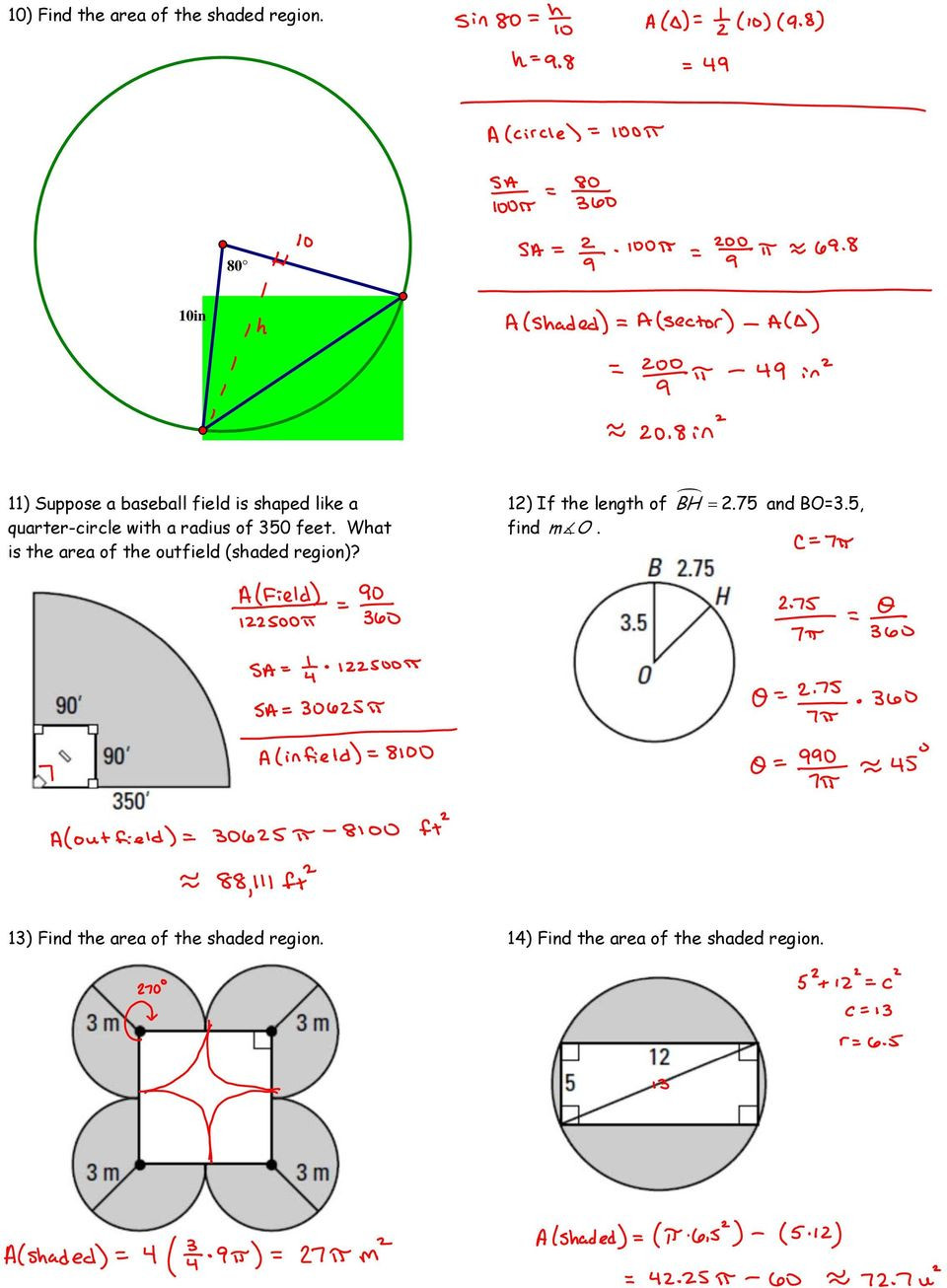 Area Of Shaded Region Worksheet Unit 7 Circles Vocabulary and formulas for Circles Pdf