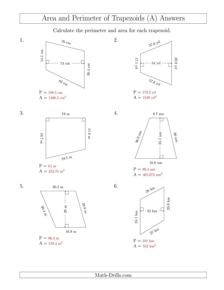 Area Of Trapezoid Worksheet Calculating the Perimeter and area Of Trapezoids even