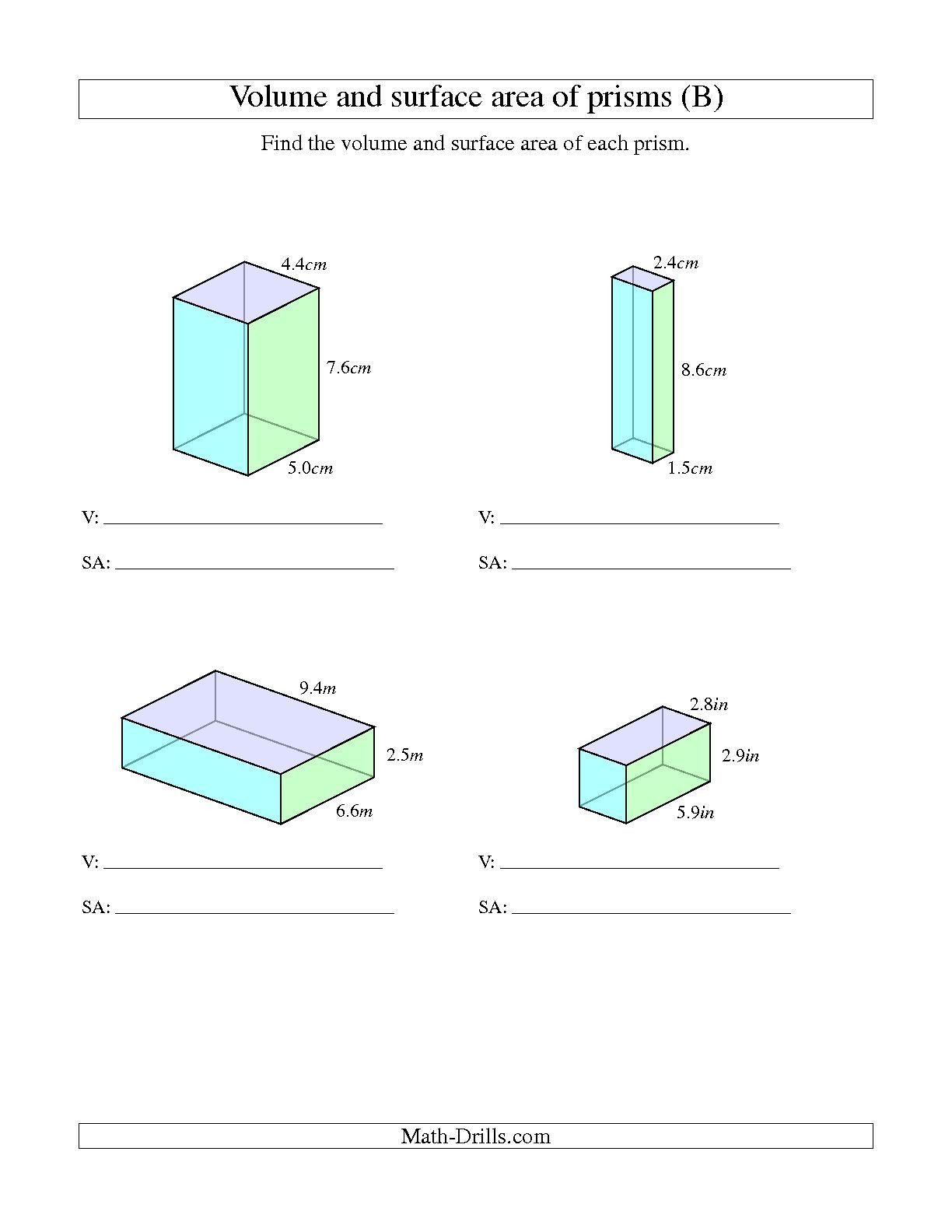 Area Of Trapezoid Worksheet the Volume and Surface area Of Rectangular Prisms with