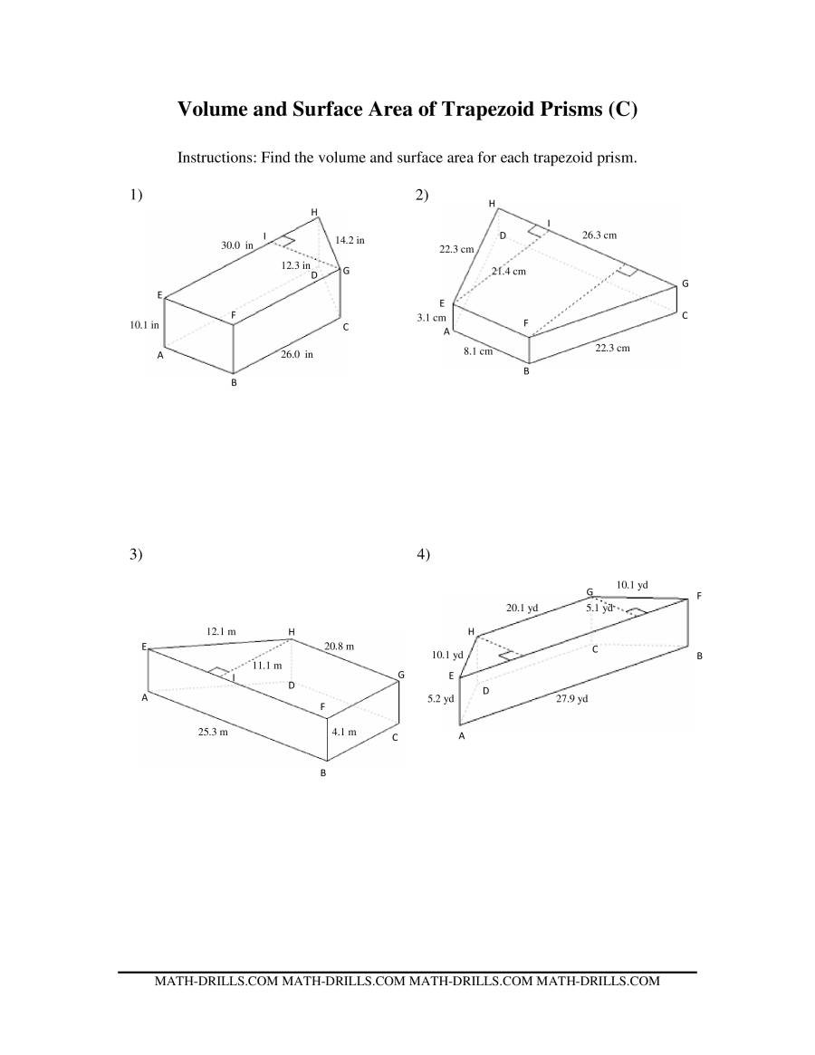 Area Of Trapezoid Worksheet Volume and Surface area Of Trapezoid Prisms
