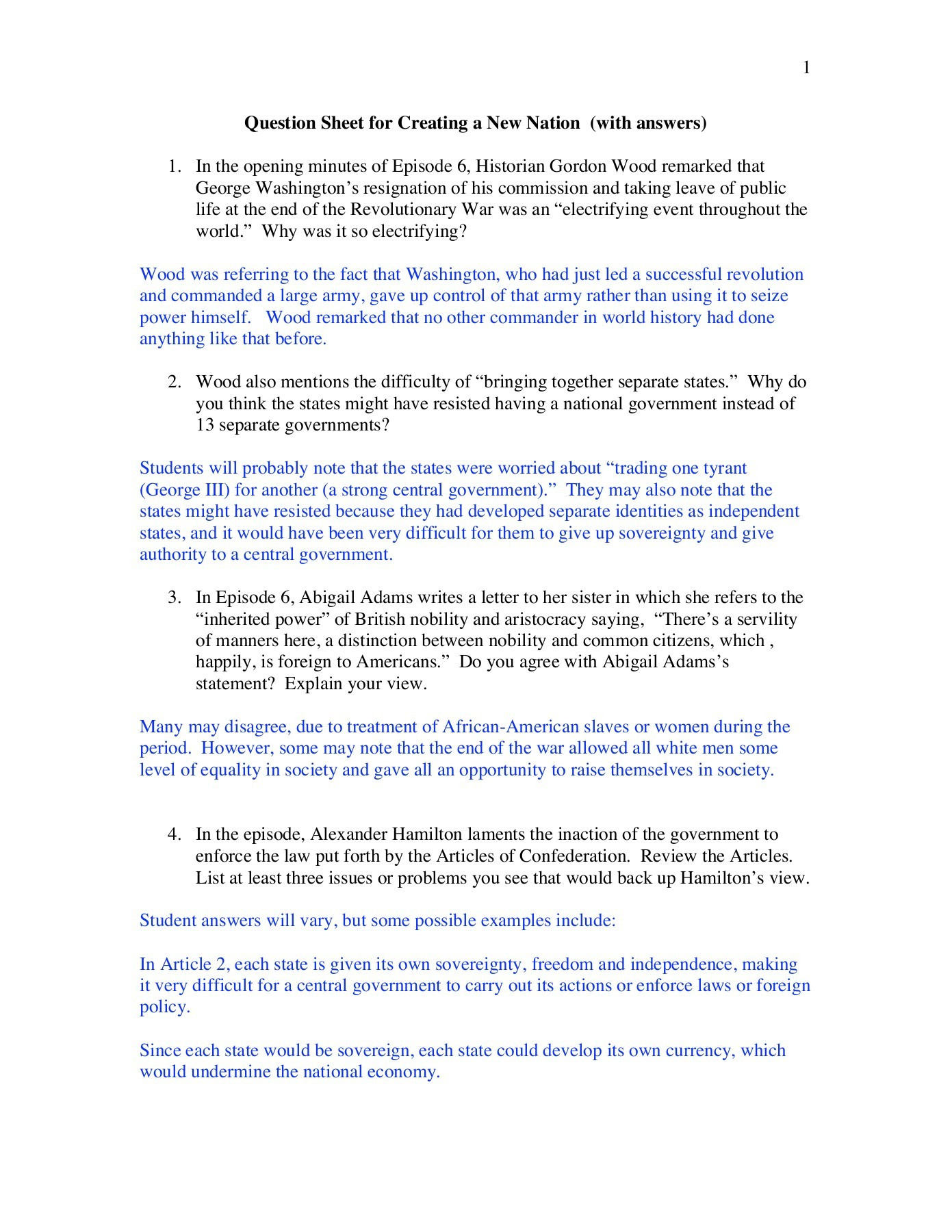 Articles Of Confederation Worksheet Answers the Problems with the Articles Confederation Worksheet