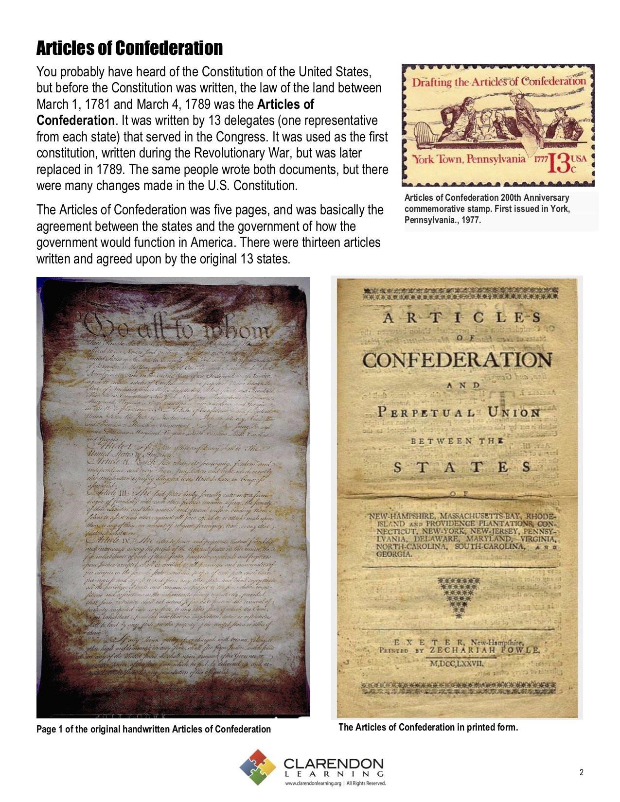 Articles Of Confederation Worksheet Articles Of Confederation