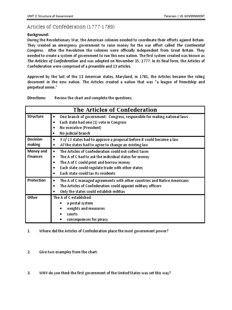 Articles Of Confederation Worksheet Articles Worksheet the United States