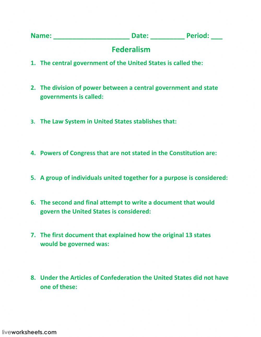 Articles Of Confederation Worksheet Federalism Interactive Worksheet