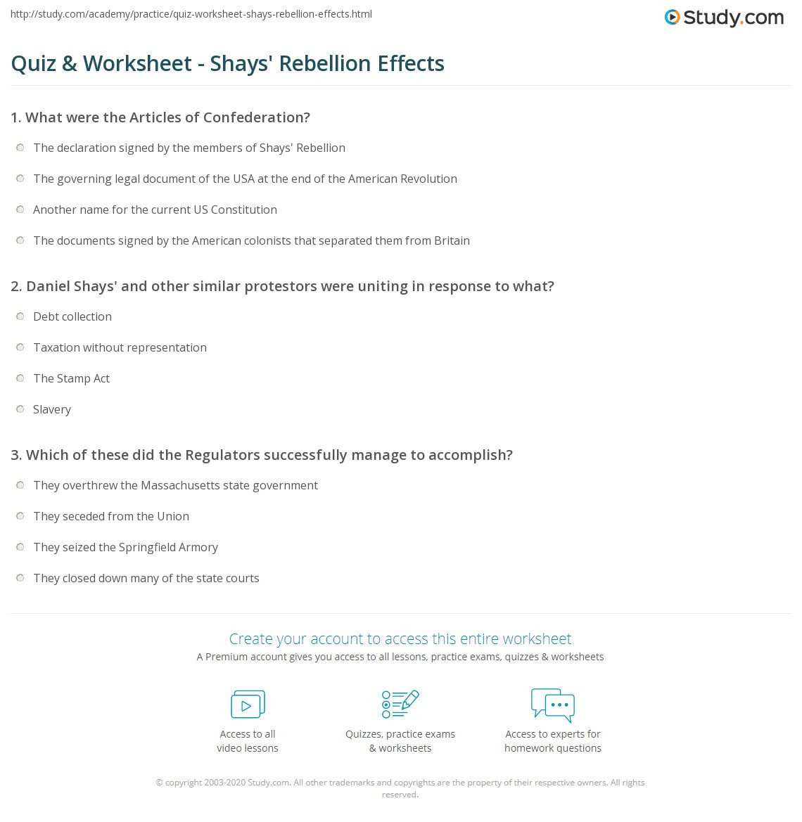 Articles Of Confederation Worksheet Quiz & Worksheet Shays Rebellion Effects