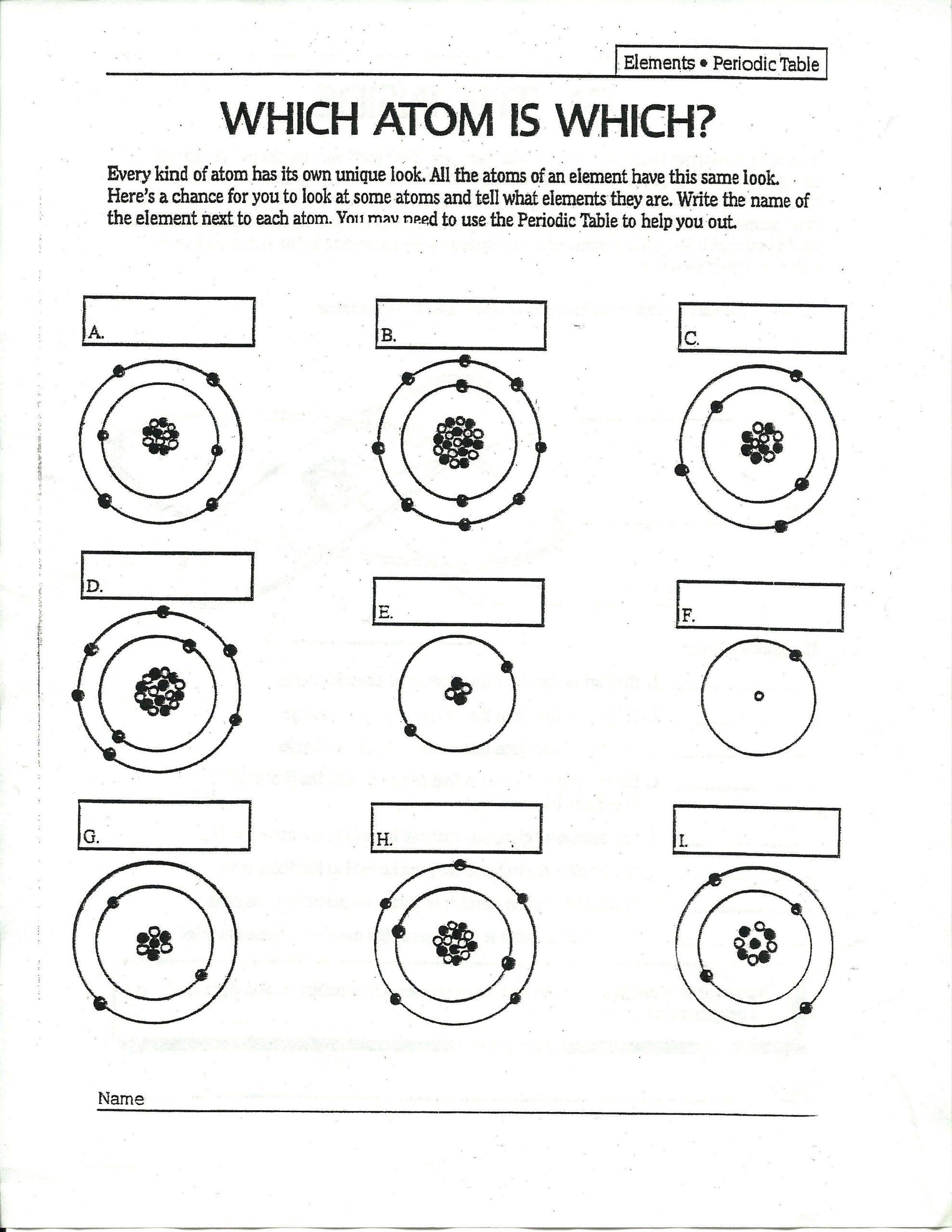 Atomic Structure Worksheet Answer Key atomic Structure Bohr Model Worksheet