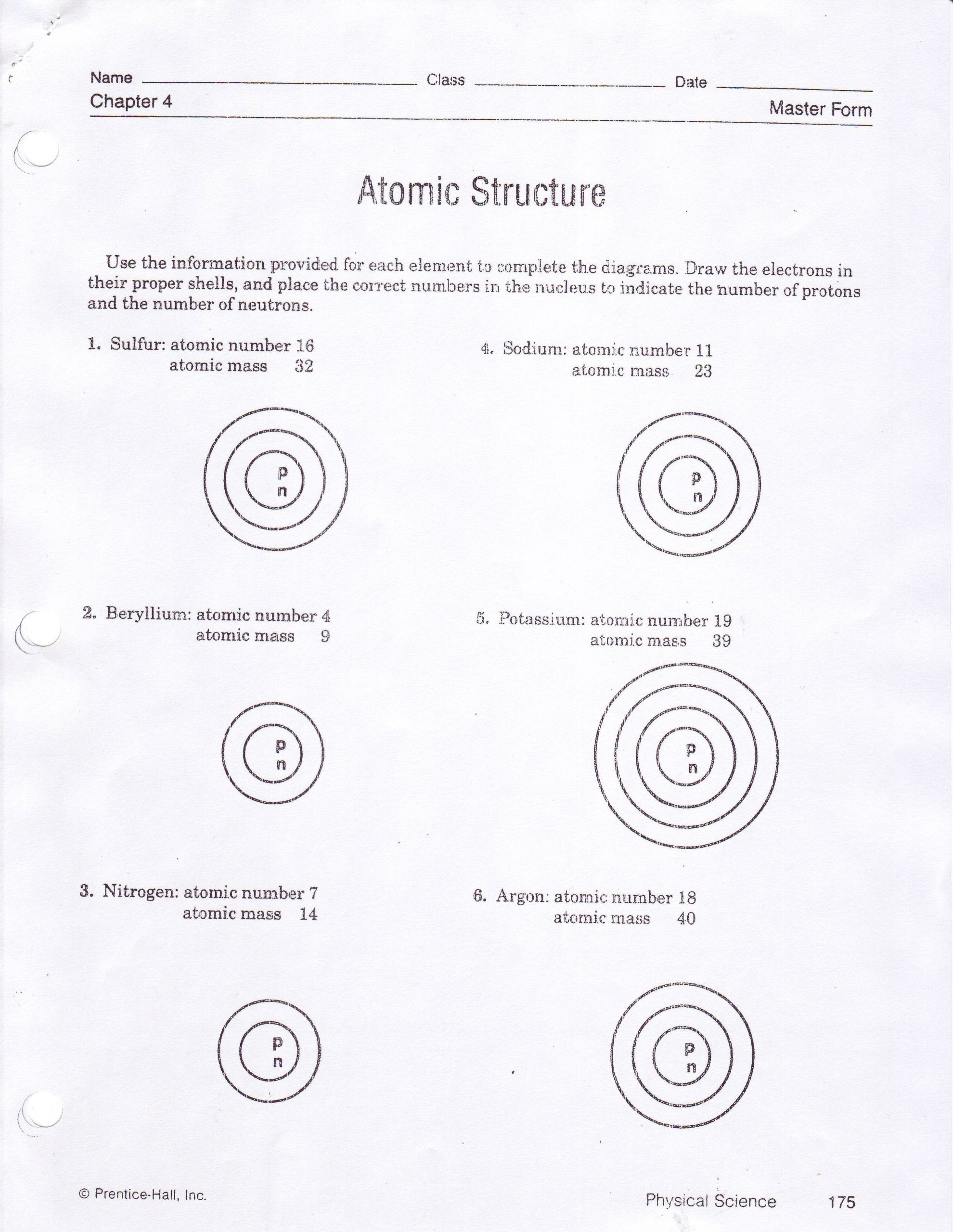 Atomic Structure Worksheet Answer Key Worksheets 42 astonishing atomic Structure Worksheet