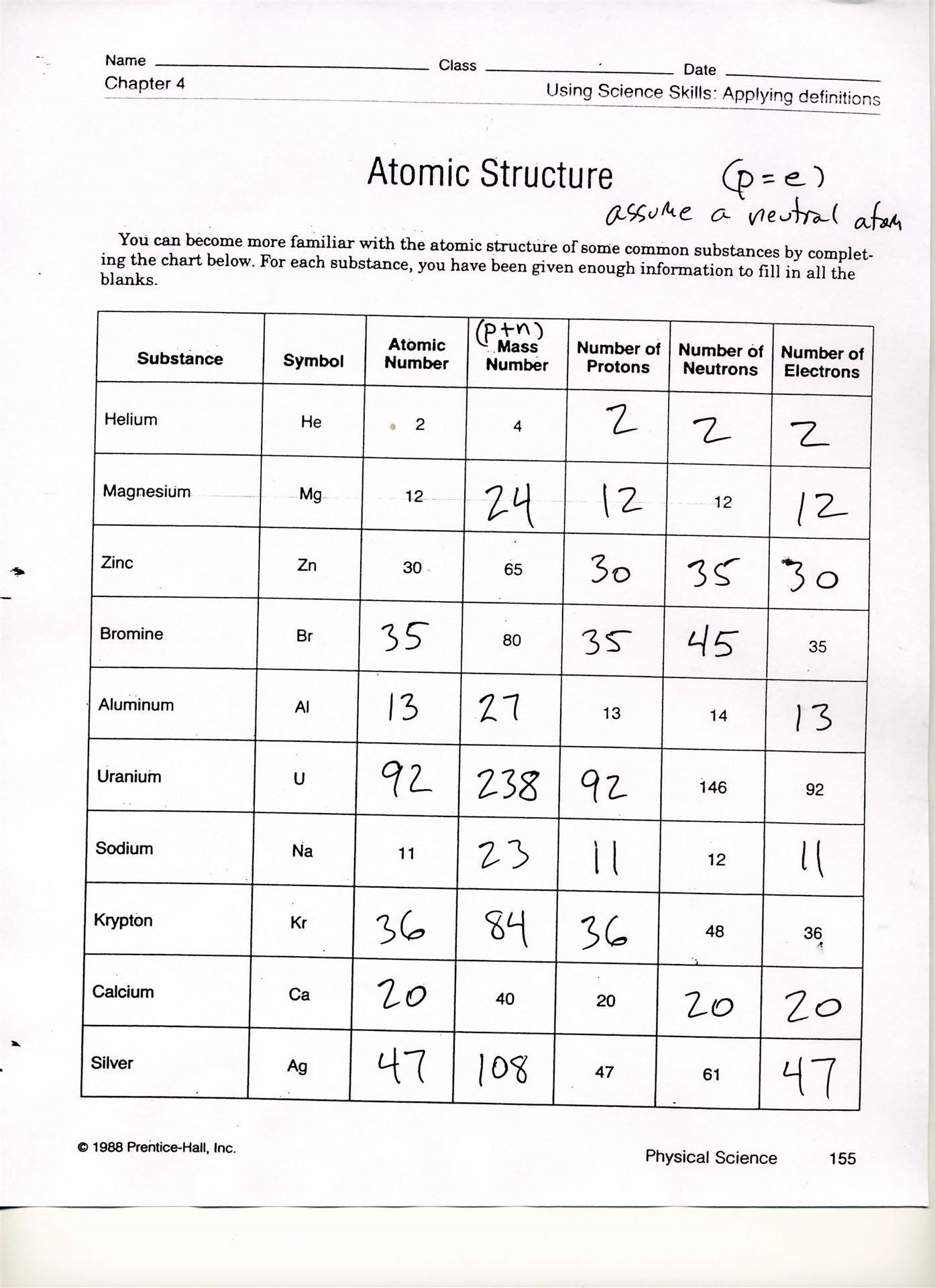 Atomic Structure Worksheet Answers Chemistry Free Chemistry Worksheets On atomic Structure Yahoo Search