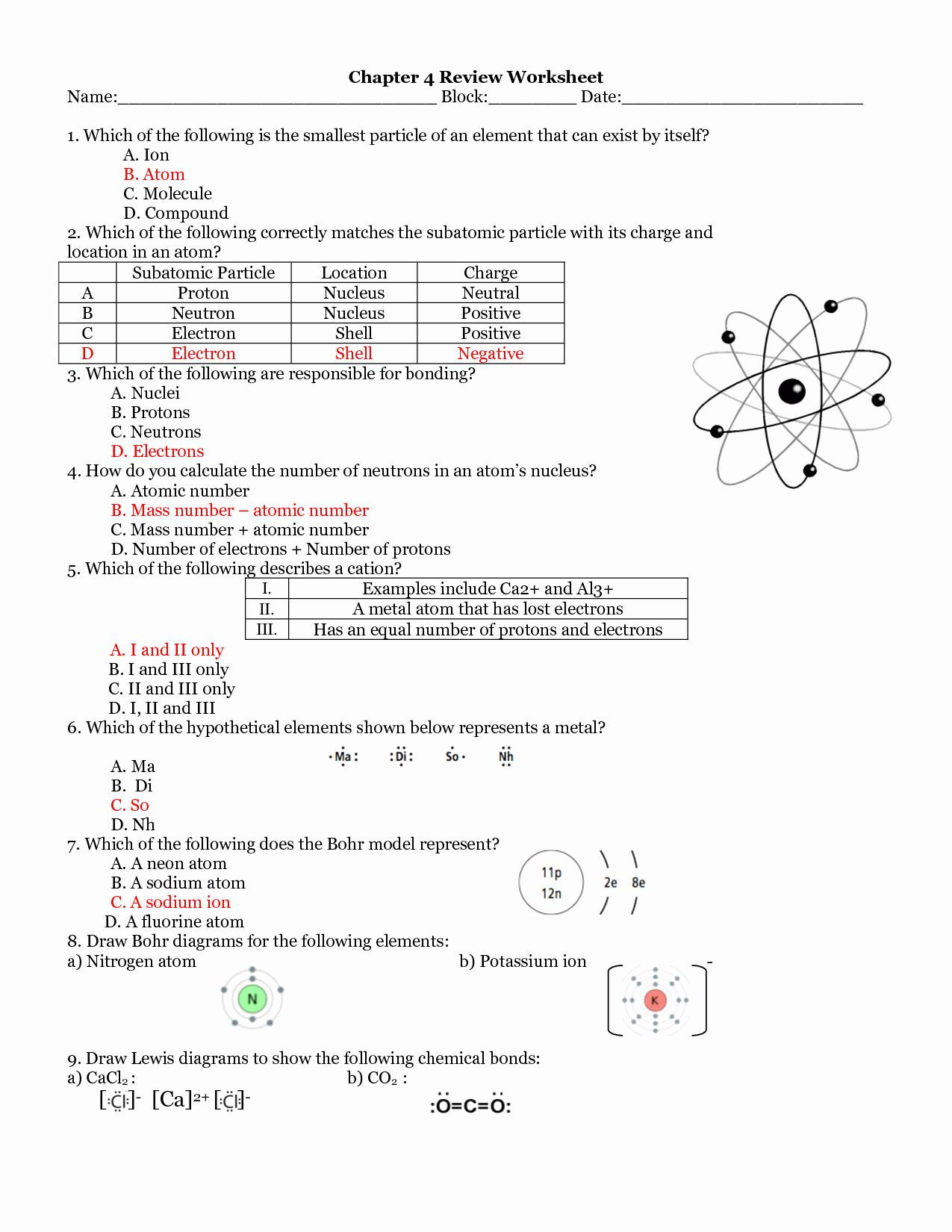 Atoms and Ions Worksheet atoms and Ions Worksheet Answers Luxury atomic Structure