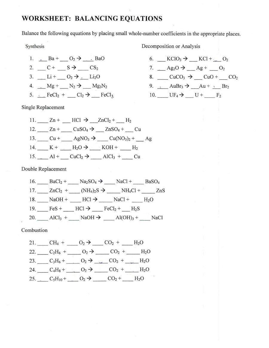 Balancing Act Worksheet Answers 49 Balancing Chemical Equations Worksheets [with Answers