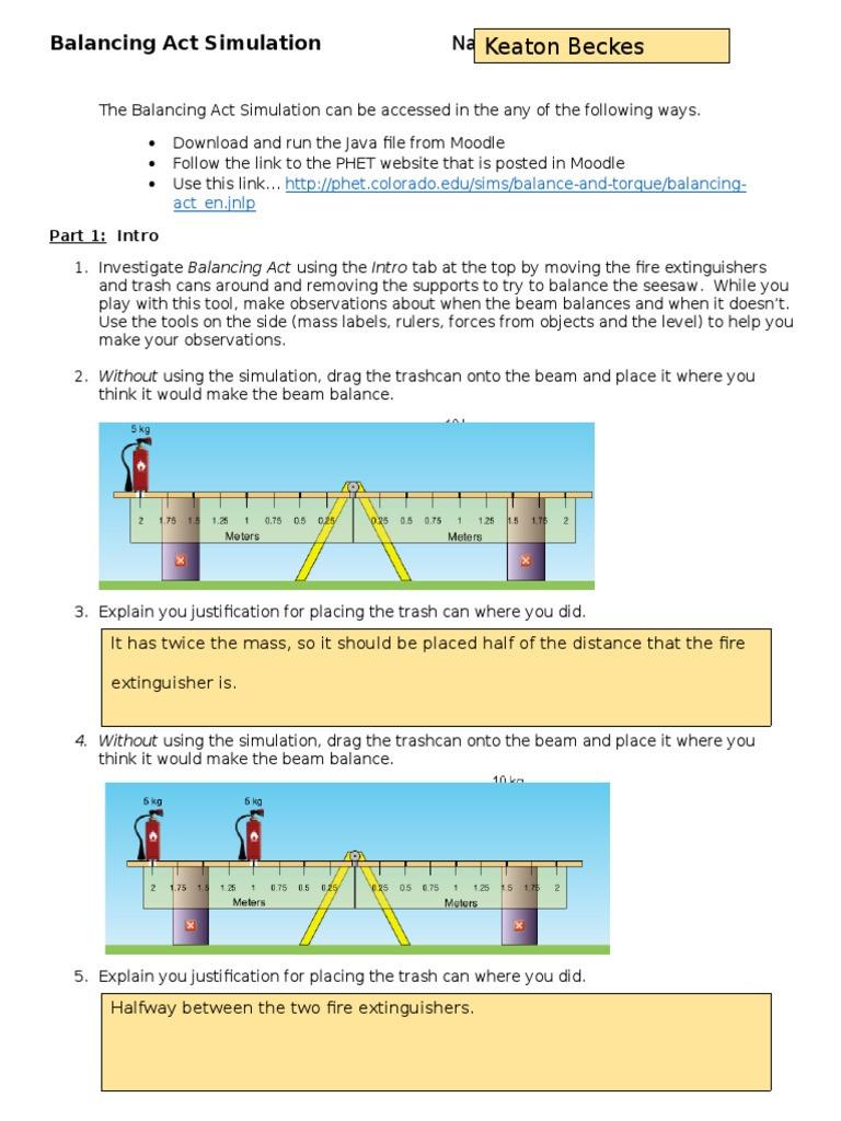 Balancing Act Worksheet Answers Activity Balancing Act Simulation Weighing Scale