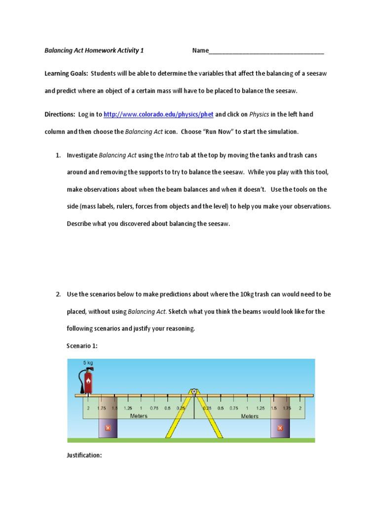 Balancing Act Worksheet Answers Balancing Act Homework Activity 1 and 2