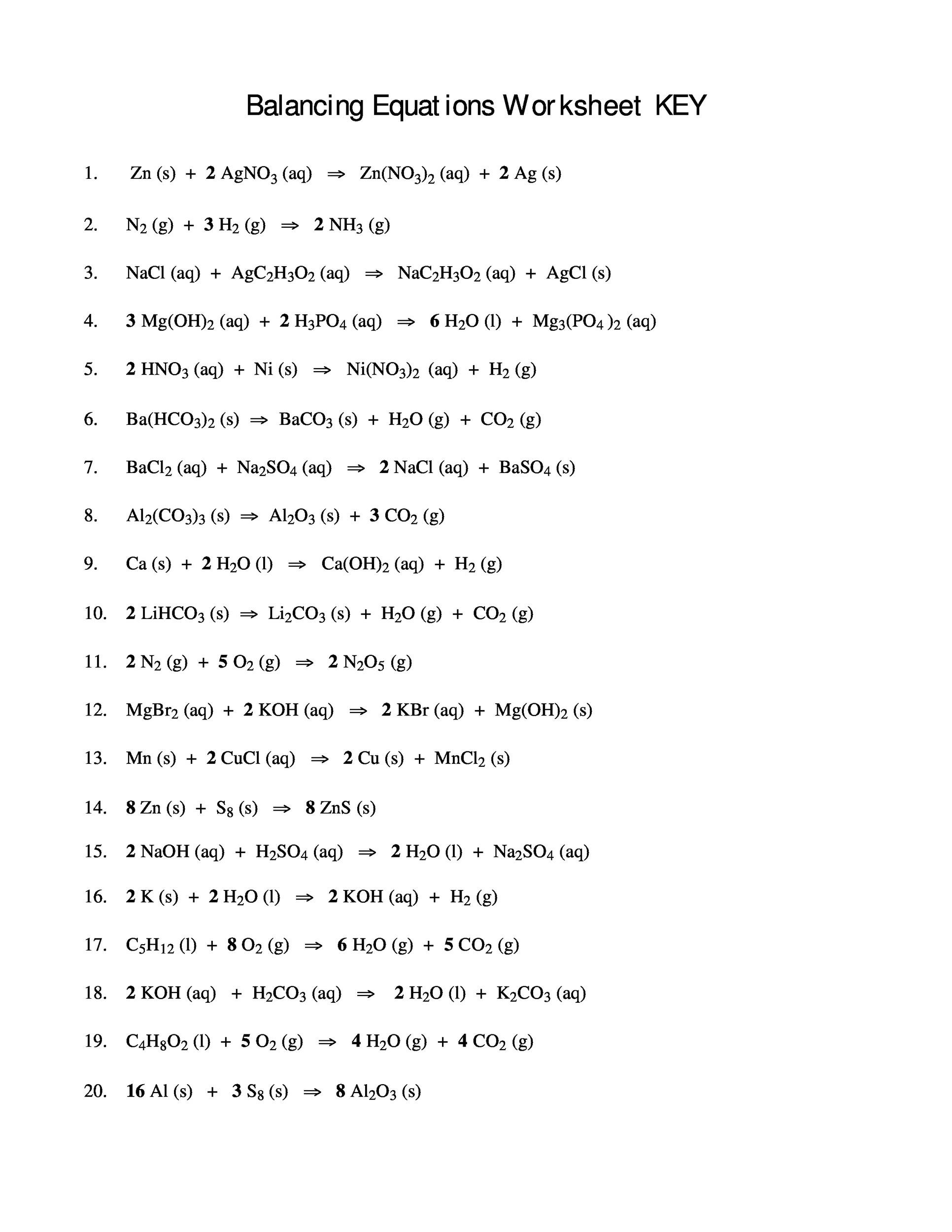 Balancing Act Worksheet Answers Balancing Chemical Equations Worksheets with Answers 8th