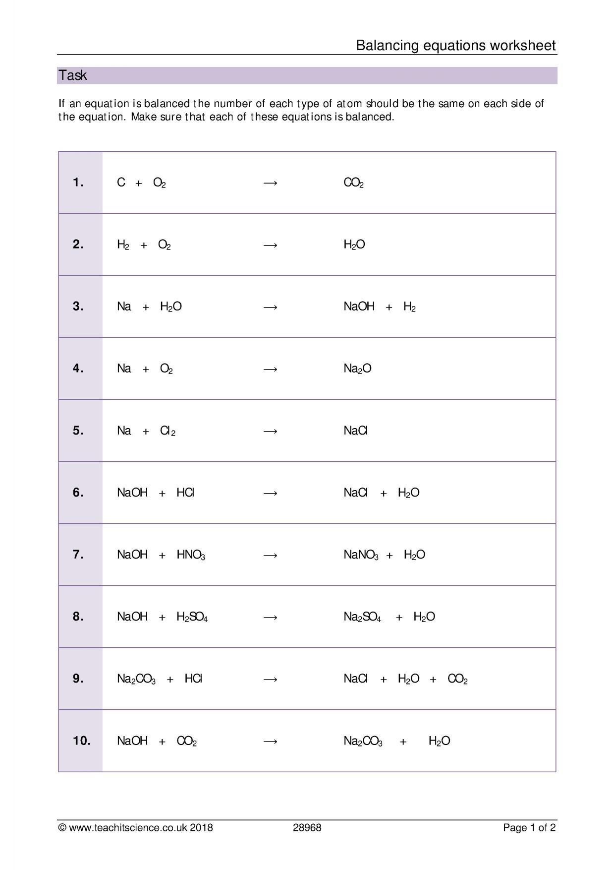 Balancing Act Worksheet Answers Balancing Equations