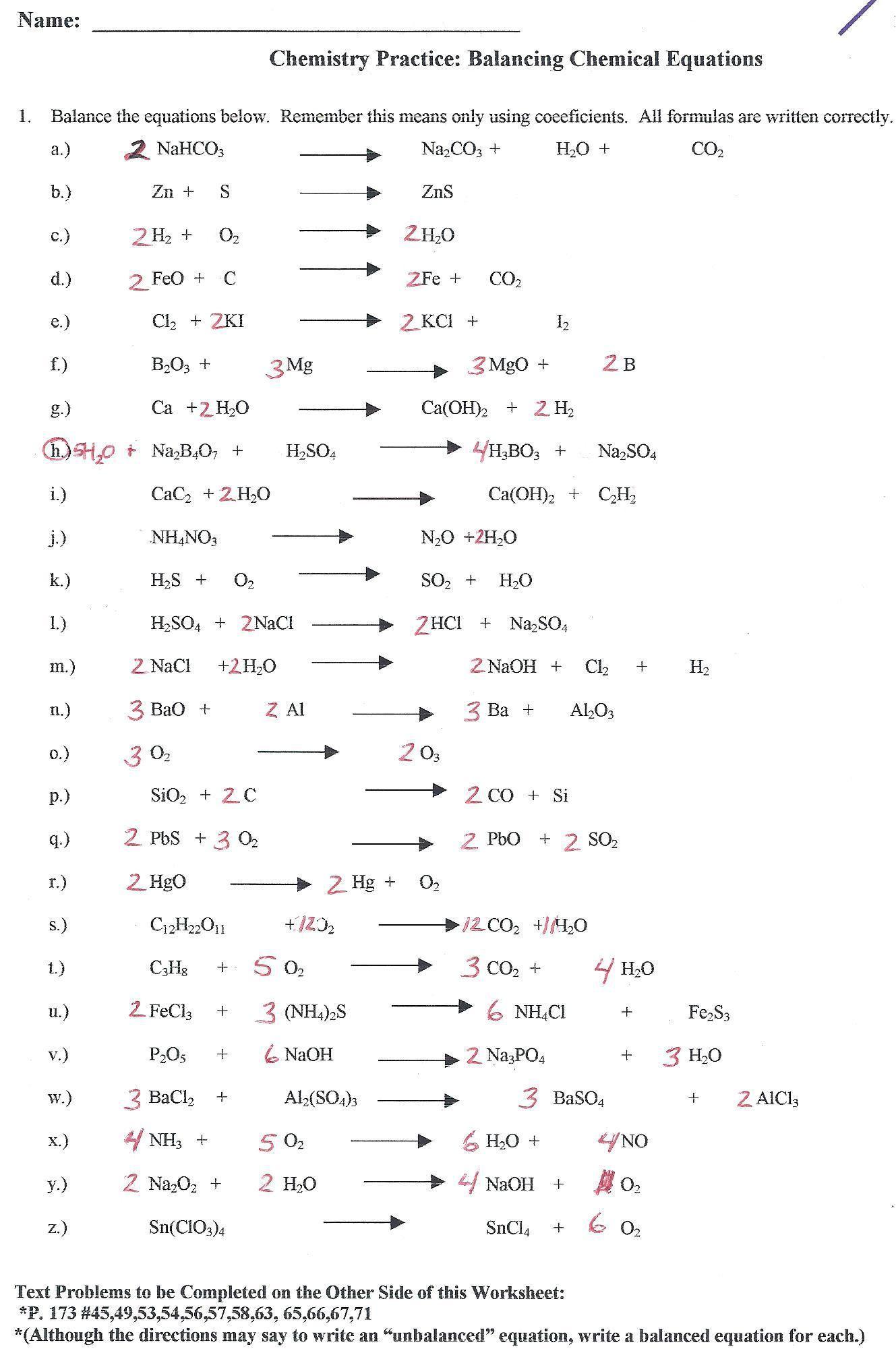 Balancing Act Worksheet Answers Chem 130 Balancing Equations Worksheet Key Tessshebaylo