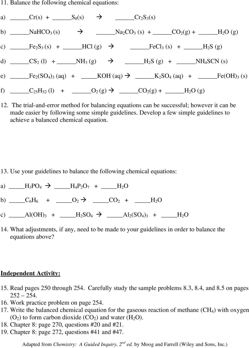Balancing Act Worksheet Answers Chemistry 115 Practice Problems Writing and Balancing