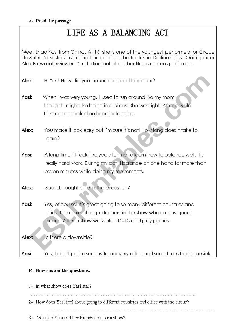 Balancing Act Worksheet Answers During for Esl Worksheet by Yesims