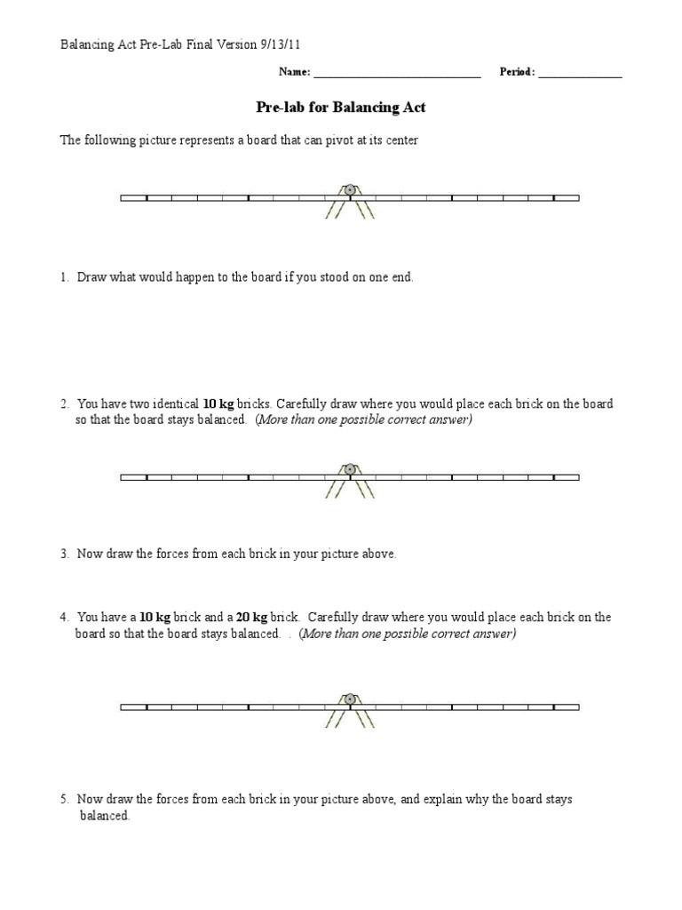 Balancing Act Worksheet Answers Pre Lab for Balancing Act Name Period