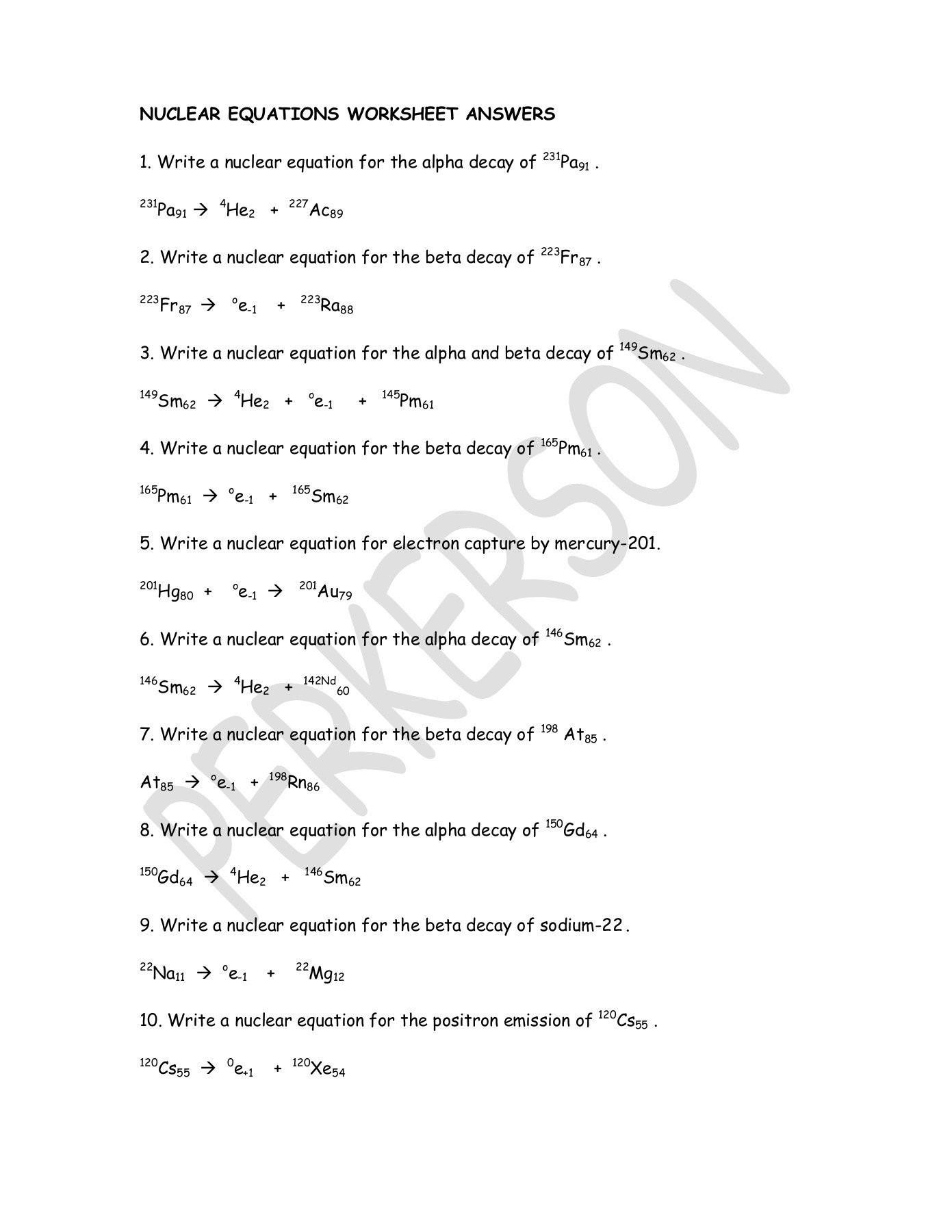 Balancing Nuclear Equations Worksheet Answers 20 Nuclear Equations Worksheet Answers
