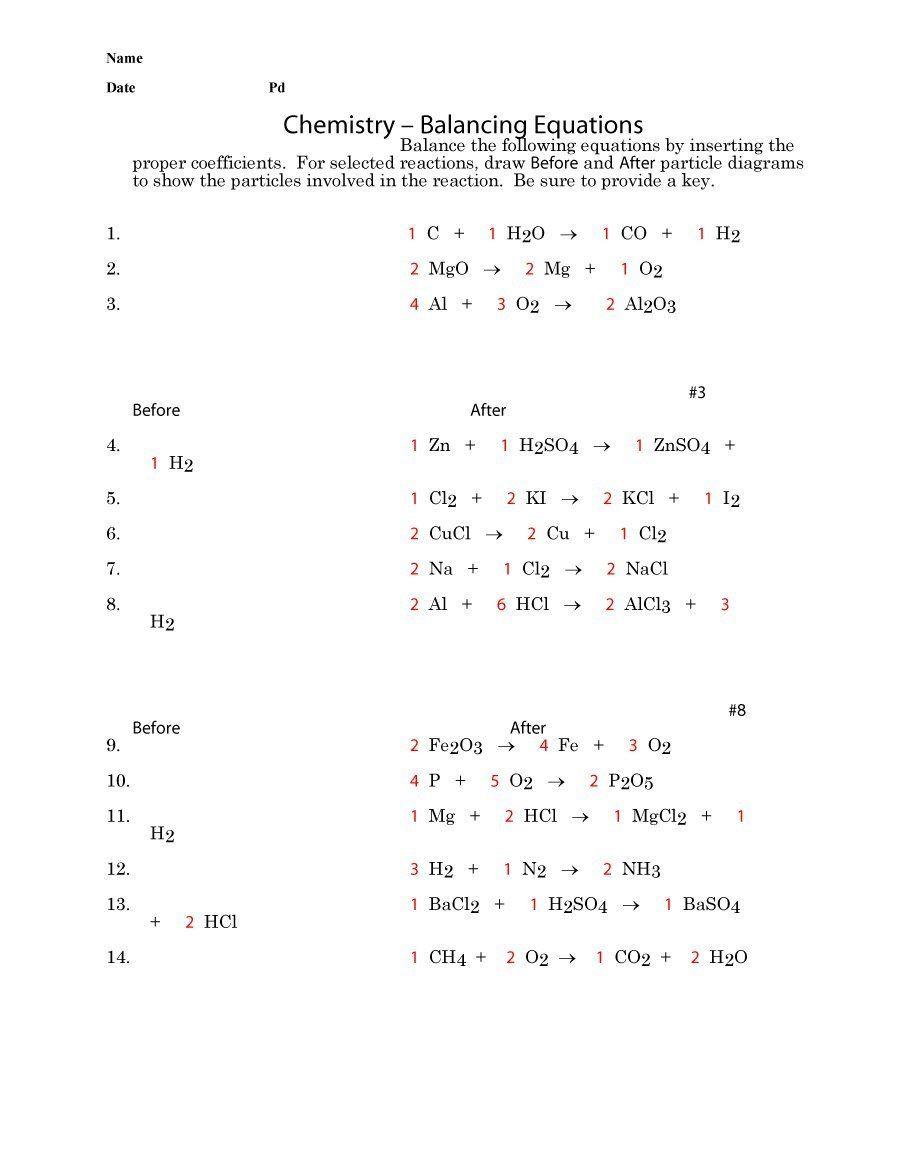 Balancing Nuclear Equations Worksheet Answers 49 Balancing Chemical Equations Worksheets [with Answers