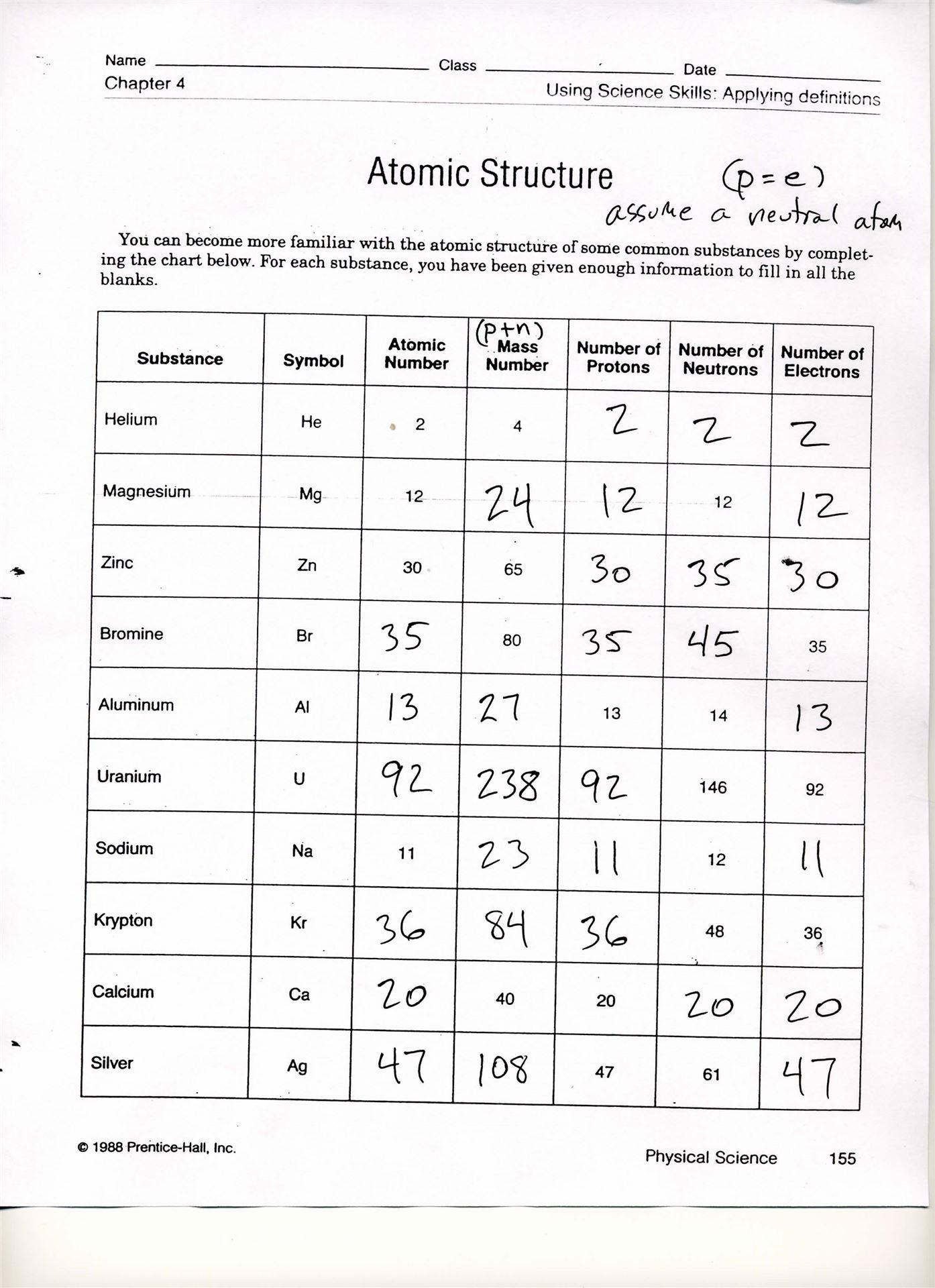 Basic atomic Structure Worksheet Answers 34 atomic Structure Worksheet Answers Chemistry Worksheet