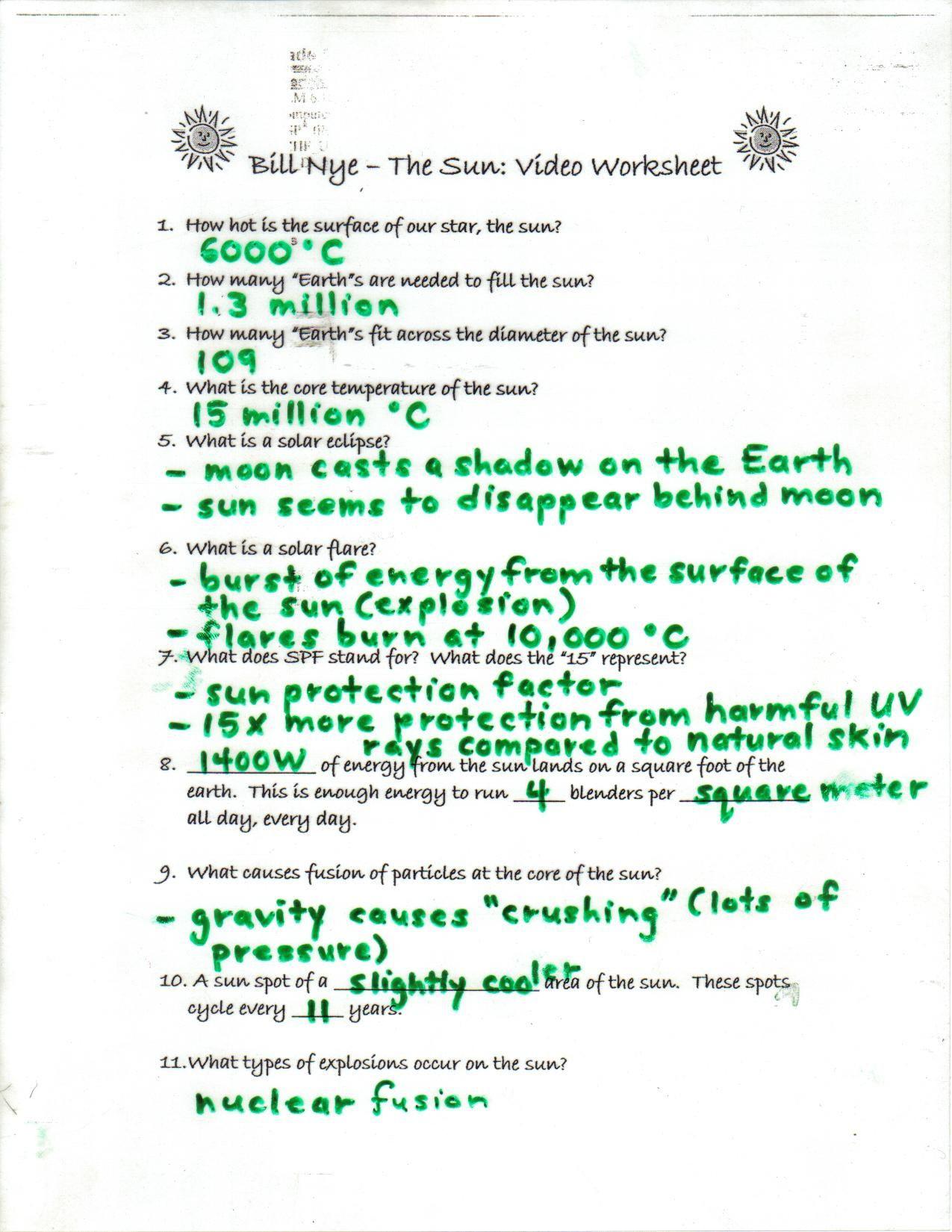 Bill Nye Motion Worksheet Bill Nye the Science Guy Worksheet Answers