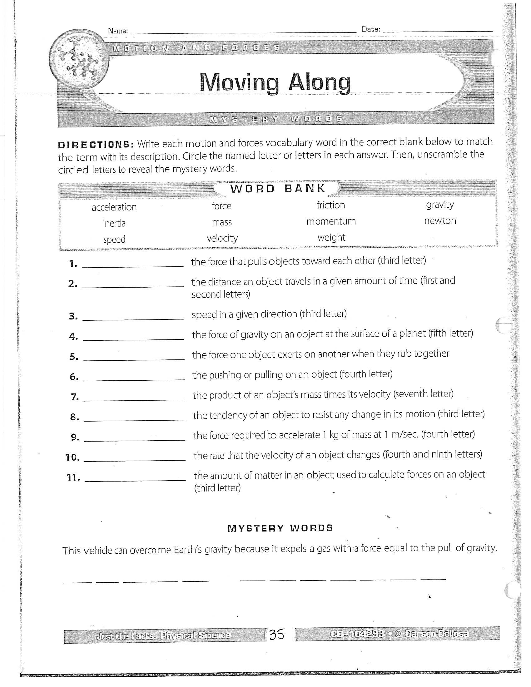 Bill Nye Motion Worksheet Term 4