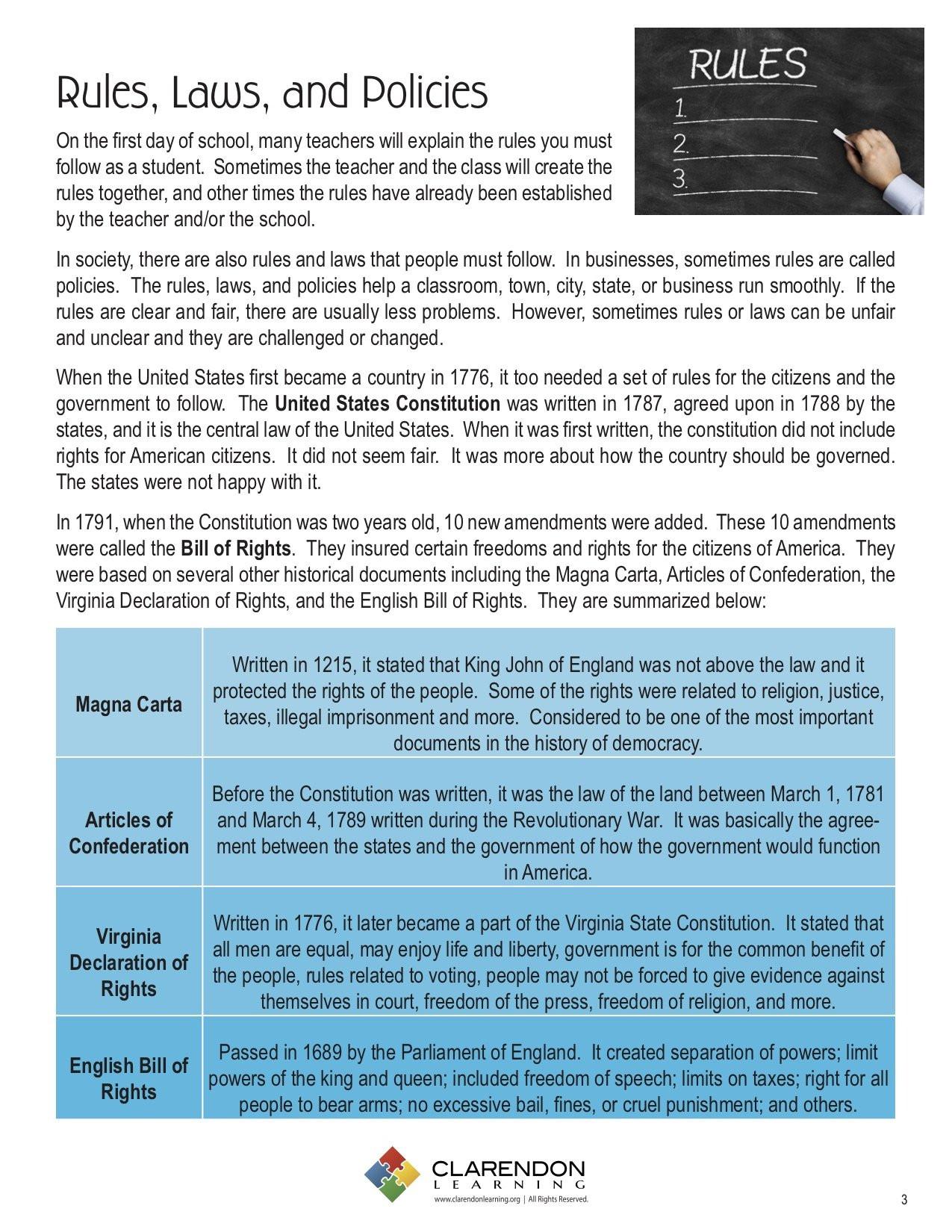 Bill Of Rights Worksheet Bill Of Rights