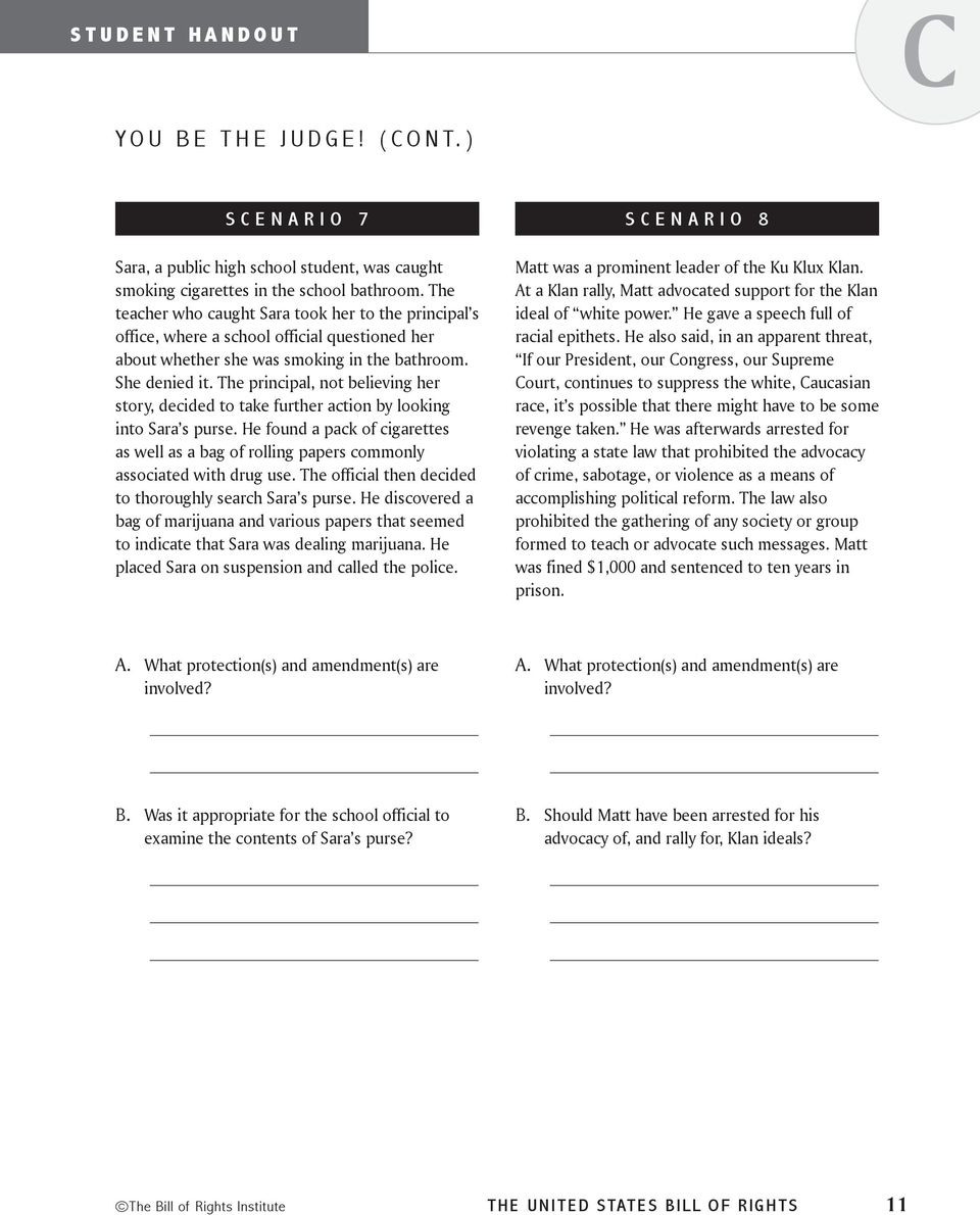 Bill Of Rights Worksheet Bill Rights Scenarios Worksheet Nidecmege